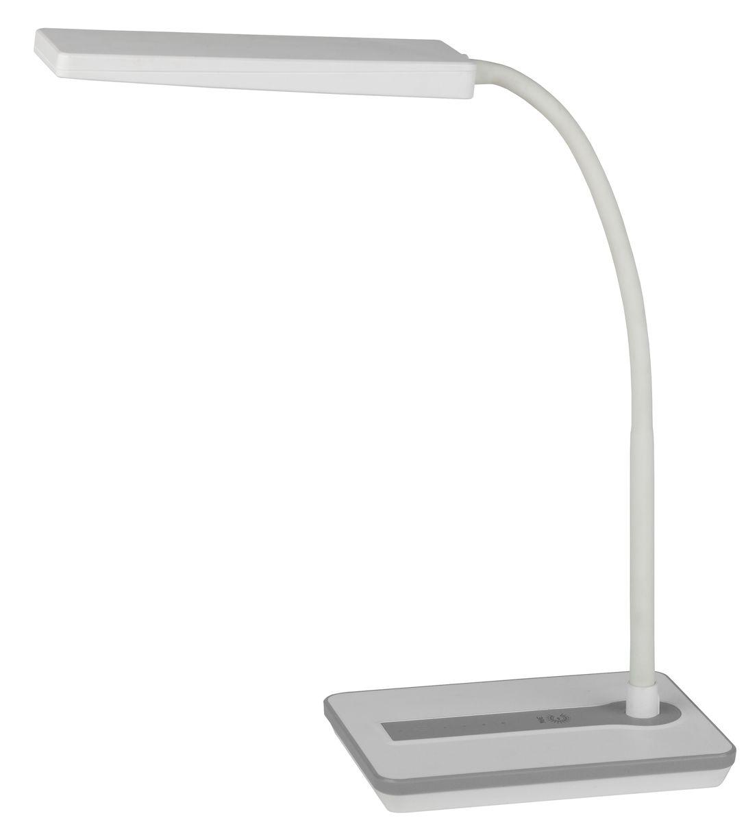 Настольный светильник ЭРА NLED-446-9W-W, цвет: белыйNLED-446-9W-WСветильник со светодиодами (LED) в качестве источников света, которые экономят до 90% электроэнергии и не требуют замены на протяжении всего срока службы светильника.Сенсорный переключатель на основании.Четырехступенчатый диммер для регулировки яркости.Высота плафона регулируется гибкой стойкой, направление света регулируется поворотом плафона в любом направлении.Теплый свет, аналогичный свету лампы накаливания - цветовая температура 3000К.