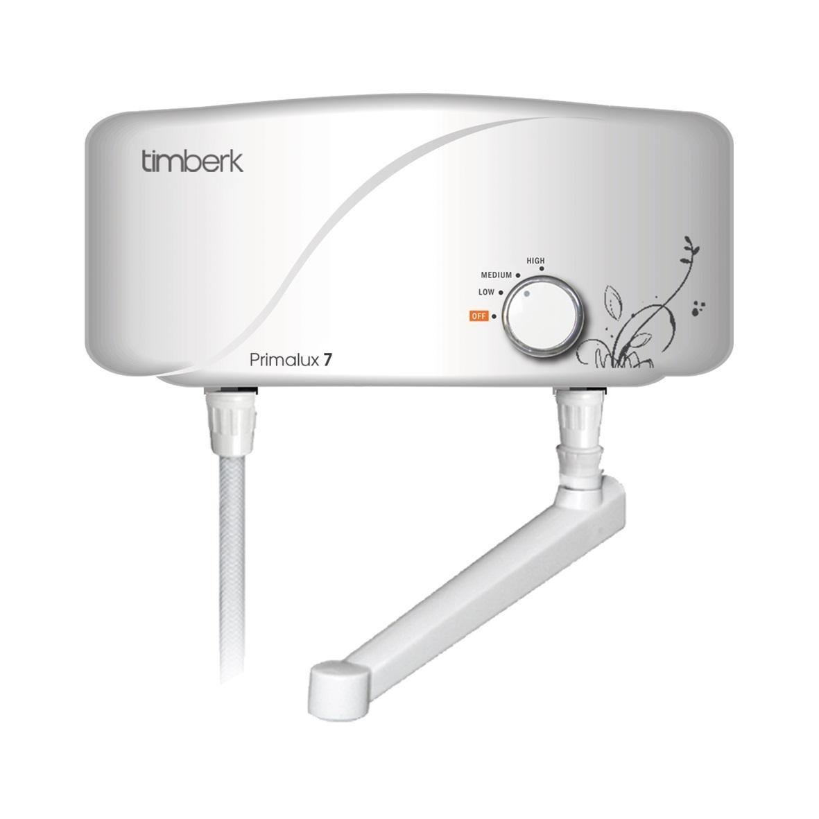 Timberk WHEL-7 OC проточный водонагреватель с краномWHEL-7 OCПроточный водонагреватель Timberk WHEL-7 имеет обтекаемый влагозащищенный корпус и современный авторский дизайн, который придаст уникальный вид интерьеру ванной комнаты или кухни.Данная модель обеспечивает горячей водой одну точку потребления. Прибор содержит в себе надежный медный нагревательный элемент с защитным покрытием и увеличенным ресурсом работы.Гидравлический клапан с датчиком отключения срабатывает автоматически и отключает электропитание ТЭНа при перекрывании подачи воды или при ее отсутствии. А колба из высокопрочного термопластика специальной конструкции и утолщенными стенками увеличивает надежность прибора.Водонагреватель укомплектован многоразовым фильтром очистки воды от мелких примесей. Он также имеет 3 ступени мощности и встроенный датчик защиты от перегрева.Класс влагозащиты: IPX4Класс электрозащиты: 1Производительность: 4,5 л/минНоминальный ток: 30 АРабочие давление: 0,03-0,6 МПа