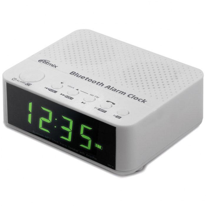 Ritmix RRC-818, White радио-часыRRC-818 WHITERitmix RRC-818 – это FM - радиочасы с функцией Bluetooth, позволяющей беспроводным способом подключаться к другим устройствам. Такая возможность позволяет RRC-818 воспроизводить аудиофайлы, записанные в памяти этих устройств. Кроме того, воспроизведение можно вести и с карт памяти, разъём для которых имеется в радиочасах.Ritmix RRC-818 оснащены микрофоном, и благодаря Bluetooth-соединению со смартфоном их можно использовать для телефонных разговоров в режиме Handsfree. Устройство имеет будильник, а также эквалайзер для управления звуком.