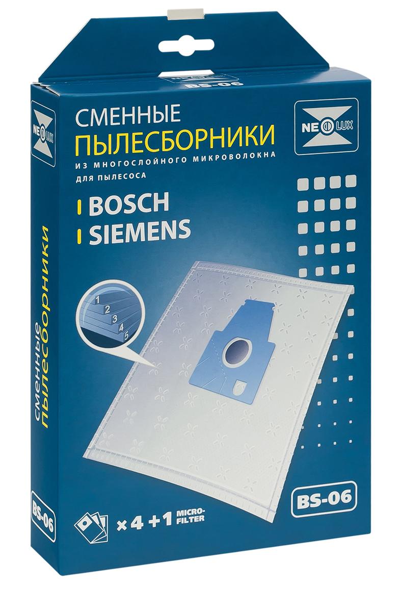 Neolux BS-06 пылесборник из пятислойного микроволокна (4 шт) + микрофильтрBS-06Пылесборники Neolux BS-06 предназначены для пылесосов BOSCH, SIEMENS. Изготовлены из пятислойного микроволокна и содержат 2 слоя Meltblown, которые и являются основными фильтрующими элементами. Задерживают 99,9 % пыли, идеальны для людей, страдающих аллергией. Не боятся случайного попадания влаги и острых предметов. Служат в 1,5 раза дольше бумажных пылесборников. Продлевают срок службы двигателя пылесоса. Сокращают время уборки за счет сохранения мощности двигателя пылесоса. В комплект входит универсальный фильтр защиты двигателя размером 125х195 мм.