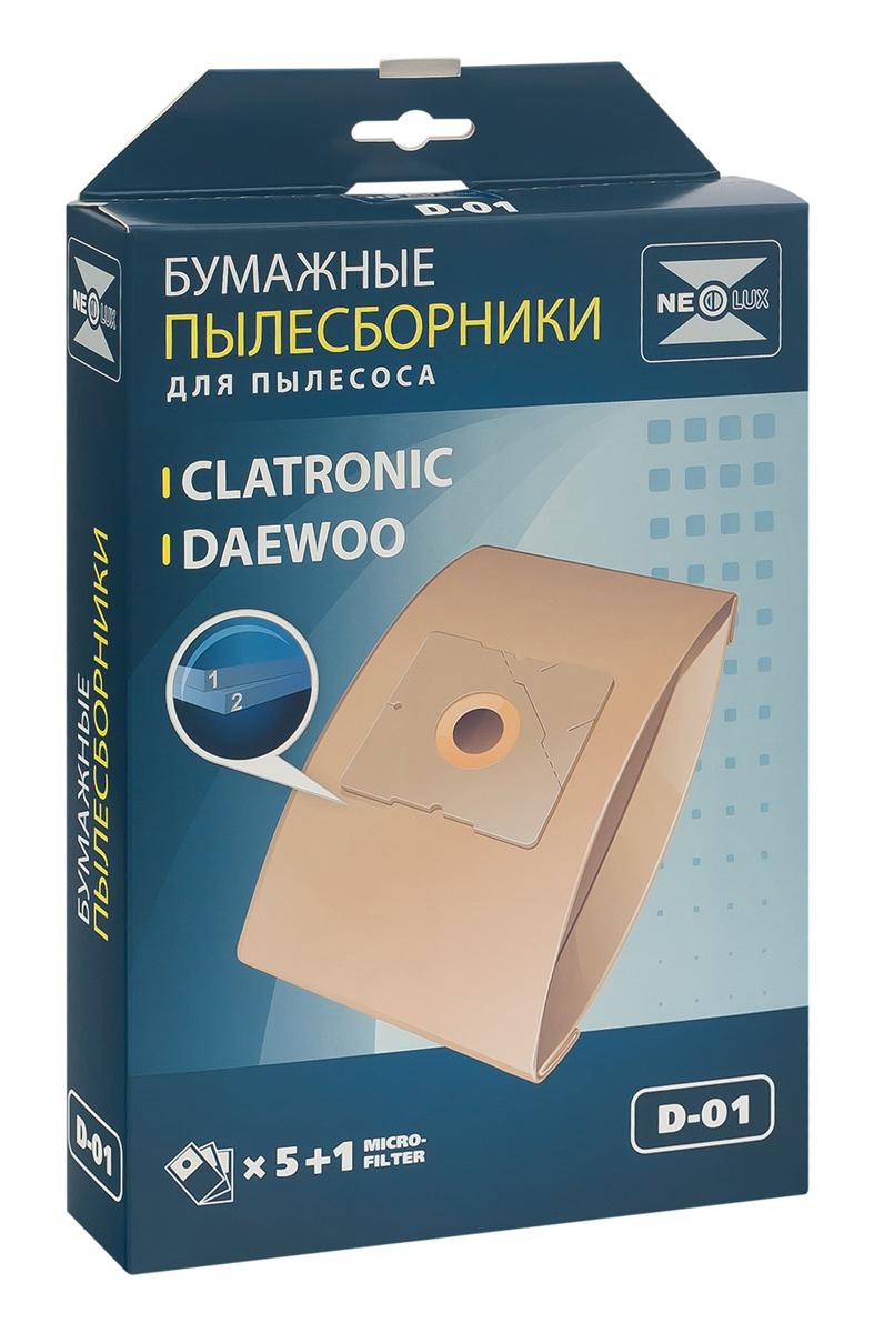 Neolux D-01 бумажный пылесборник (5 шт) + микрофильтрD-01Пылесборники Neolux D-01 предназначены для пылесосов Samsung, Daewoo, Bork, Clatronic, Scarlett. Изготовлены из двухслойной фильтровальной бумаги. Обеспечивают идеальное качество уборки.В комплект входит универсальный фильтр защиты двигателя размером 125х195 мм.Совместимые модели:Samsung SC 31, SC 51, SC 52, SC 53, SC 54, VC 61, VC/SC 69, SC 70, SC 72, SC 75Daewoo Compakt, Koala, RC 103 - RC 110, RC 160, RC 161, RC 170 - RC 173, RC 190 - RC 193, RC 200, RC 202, RC 205, RC 209, RC 210, RC 405 - RC 407, RC 450, RC 505, RC 550, RC 605 - RC 609, RC 705, RC 707, RC 805, RC 1504, RC 2006, RC 2200 - RC 2202, RC 2205, RC 2230, RC 2400, RC 2500, RC 3001, RC 3106, RC 5001, RC 6016, RC 7001, RC 7004, RC 8200, RC 8500, RC 8600, RCP 1000, RCP 1008, VC 6714, VC 7114Bork: VC 2516, VC 3119, VC 3216, VC 5317, VC 6514, VC 7516, VC 8022Clatronic: BS 1204, BS 1205, BS 1211, BS 1215, BS 1219, BS 1220, BS 1221, BS 1223, BS 1225, BS 1226Scarlett: SC 081, SC 088, SC 1080, SC 1084, SC 1087.