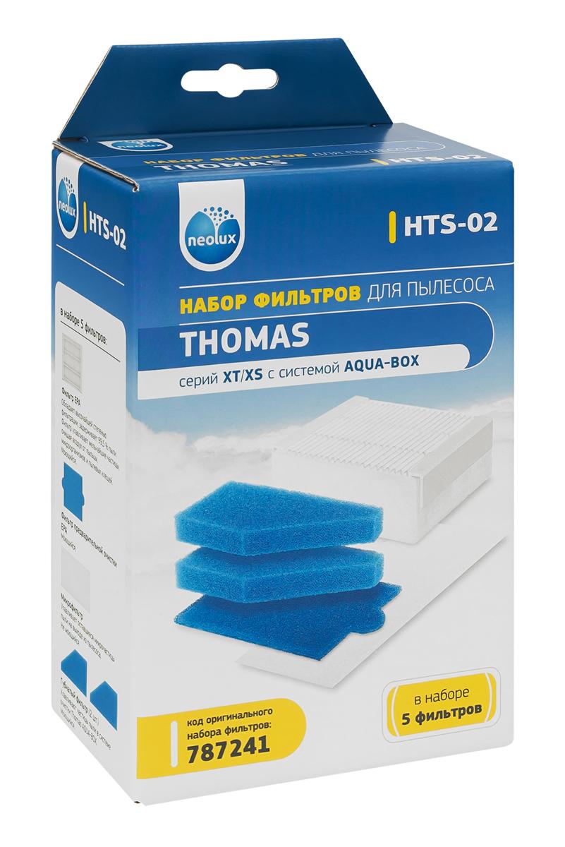 Neolux HTS-02 набор HEPA-фильтров для пылесоса ThomasHTS-02Набор фильтров Neolux HTS-02 предназначен для пылесосов THOMAS серий XT/XS с системой AQUA-BOX. В наборе 5 фильтров: EPA фильтрПористый фильтр предварительной очистки Пористый фильтр аквасистемы (2 шт.) Микрофильтр выпускного воздуха для моделей XT