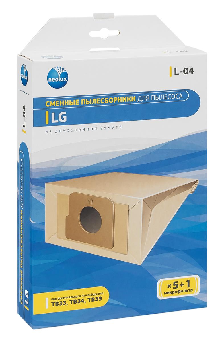 Neolux L-04 бумажный пылесборник (5 шт) + микрофильтрL-04Пылесборники Neolux L-04 предназначены для пылесосов LG. Изготовлены из двухслойной фильтровальной бумаги. Обеспечивают идеальное качество уборки.В комплект входит универсальный фильтр защиты двигателя размером 125х195 мм.Совместимые модели:LG FVD30 , FVD37 , V-27- V-29 , V-33 , V-C 31 , V-C 55 , V-C 59 , V-C32- V-C35 , V-C38 , V-C39 , V-C3A , V-C3B , V-C3C , V-C3E , V-C3G , V-C45 , V-C4A5 , V-C4B4 , V-C4B5 , V-C5A , V-CA66 , V-CA67 , V-CP 54 , V-CP 55 , V-CP 56 , V-CP 73 , V-CP 74 , V-CP 95 , V-CP 96 , V-CP65 , V-CP66 , EXTRON, PASSION, STORM, SWEEPER, TURBO, TURBO ALPHA, TURBO BETA, TURBO DELTA, TURBO PLUS, TURBO X, TURBOS.