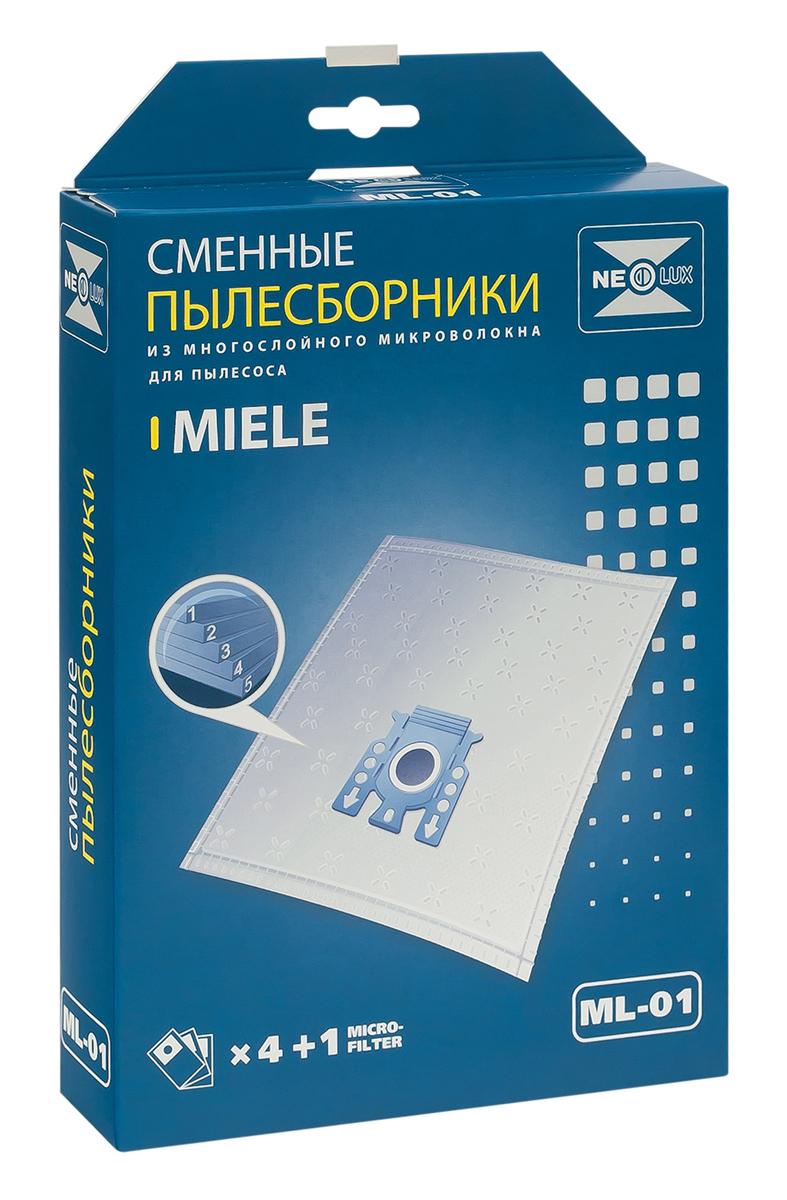 Neolux ML-01 пылесборник из пятислойного микроволокна (4 шт) + микрофильтрML-01Пылесборники Neolux ML-01 ( тип F, J, M) предназначены для пылесосов Miele. Изготовлены из пятислойного микроволокна и содержат 2 слоя Meltblown, которые и являются основными фильтрующими элементами. Задерживают 99,9 % пыли, идеальны для людей, страдающих аллергией. Не боятся случайного попадания влаги и острых предметов. Служат в 1,5 раза дольше бумажных пылесборников. Продлевают срок службы двигателя пылесоса. Сокращают время уборки за счет сохранения мощности двигателя пылесоса.В комплект входит универсальный фильтр защиты двигателя размером 125х195 мм.