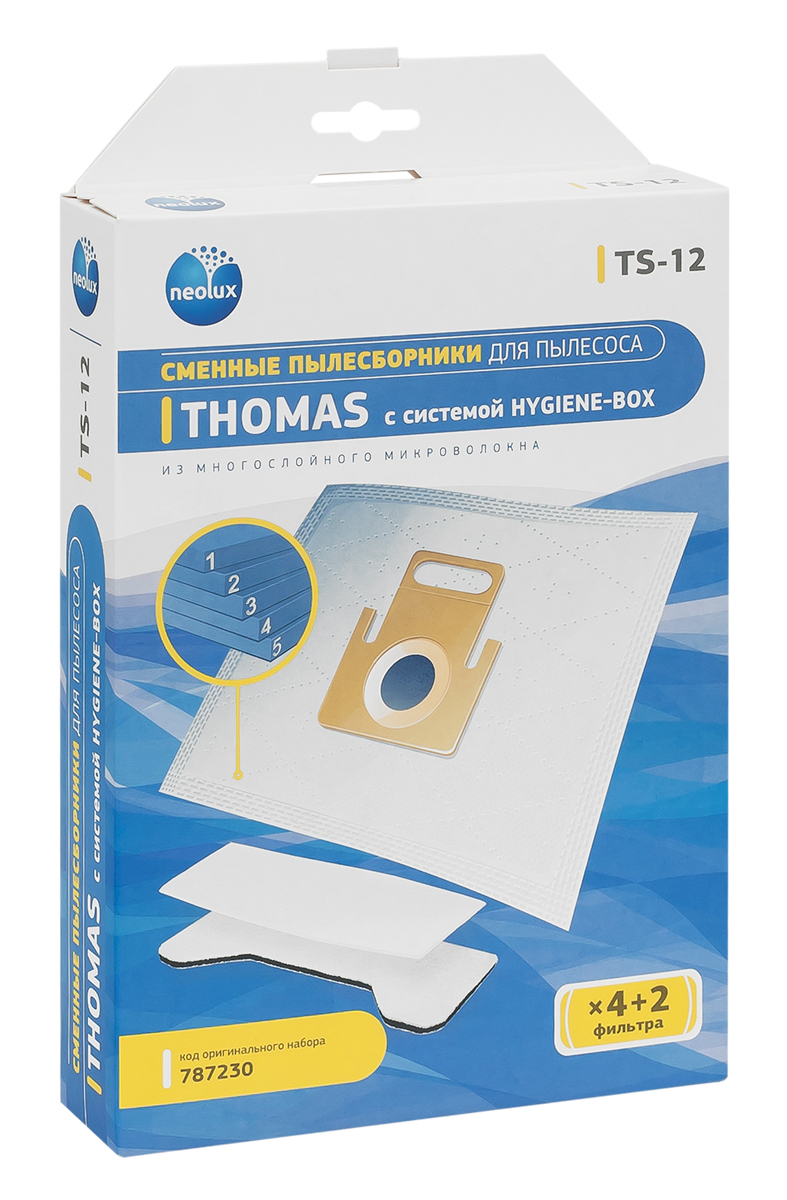Neolux TS-12 пылесборник из пятислойного микроволокна (4 шт) + 2 фильтраTS-12Пылесборники Neolux TS-12 предназначены для пылесосов Thomas Black Ocean, Hygiene, Hygiene Plus, Smarty. Изготовлены из пятислойного микроволокна и содержат 2 слоя Meltblown, которые и являются основными фильтрующими элементами. Задерживают 99,9 % пыли, идеальны для людей, страдающих аллергией. Не боятся случайного попадания влаги и острых предметов. Служат в 1,5 раза дольше бумажных пылесборников. Продлевают срок службы двигателя пылесоса. Сокращают время уборки за счет сохранения мощности двигателя пылесоса.В комплект входит универсальный фильтр защиты двигателя размером 125х195 мм.