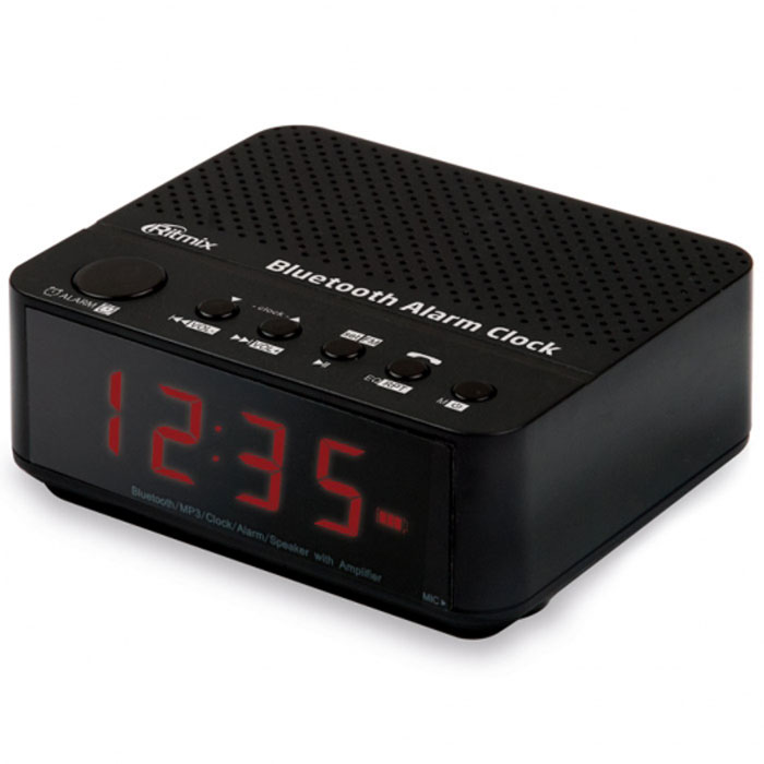 Ritmix RRC-818, Black радио-часыRRC-818 BLACKRitmix RRC-818 - это FM - радиочасы с функцией Bluetooth, позволяющей беспроводным способом подключаться к другим устройствам. Такая возможность позволяет RRC-818 воспроизводить аудиофайлы, записанные в памяти этих устройств. Кроме того, воспроизведение можно вести и с карт памяти, разъём для которых имеется в радиочасах.Ritmix RRC-818 оснащены микрофоном, и благодаря Bluetooth-соединению со смартфоном их можно использовать для телефонных разговоров в режиме Handsfree. Устройство имеет будильник, а также эквалайзер для управления звуком.