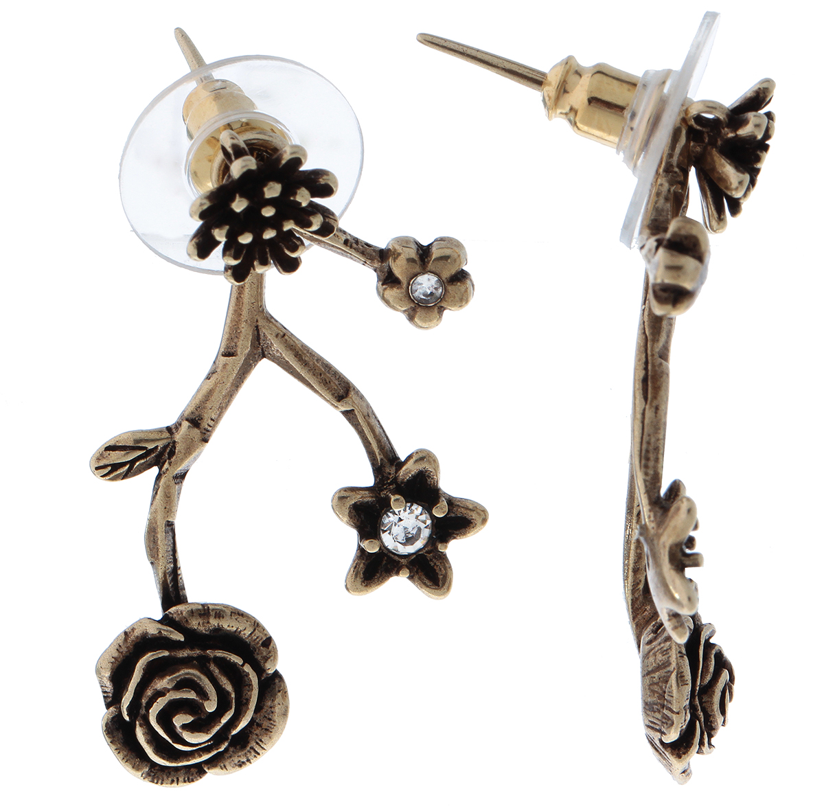 Серьги Jenavi Tenerezza. Неббиа, цвет: бронзовый, белый. f706w800Пуссеты (гвоздики)Оригинальные серьги Jenavi из коллекции Tenerezza, Неббиа изготовлены из гипоаллергенного ювелирного сплава.Изделие застегивается на замок-гвоздик, который надежно зафиксирует серьги.Стильные серьги представлены в виде веточек на которых расположились цветы с вставками из кристаллов Swarovski.