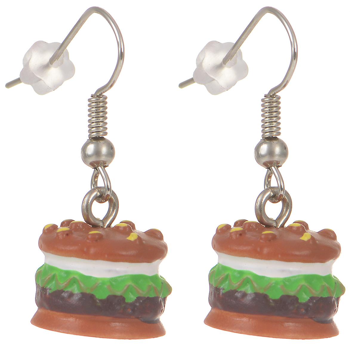 Серьги Kawaii Factory Гамбургер, цвет: коричневый. KW092-000173Серьги с подвескамиМилые серьги Гамбургер от Kawaii Factory помогут разнообразить серые будни и непременно поднимут настроение! Серьги выполнены из полимерной глины и снабжены удобными замочками-петлями. Небольшой размер позволяет сочетать их с другими украшениями, а яркий цвет и оригинальный дизайн выделят своего обладателя из толпы и привлекут внимание. При взгляде на такое украшение сразу появляется аппетит и утренний заряд бодрости.
