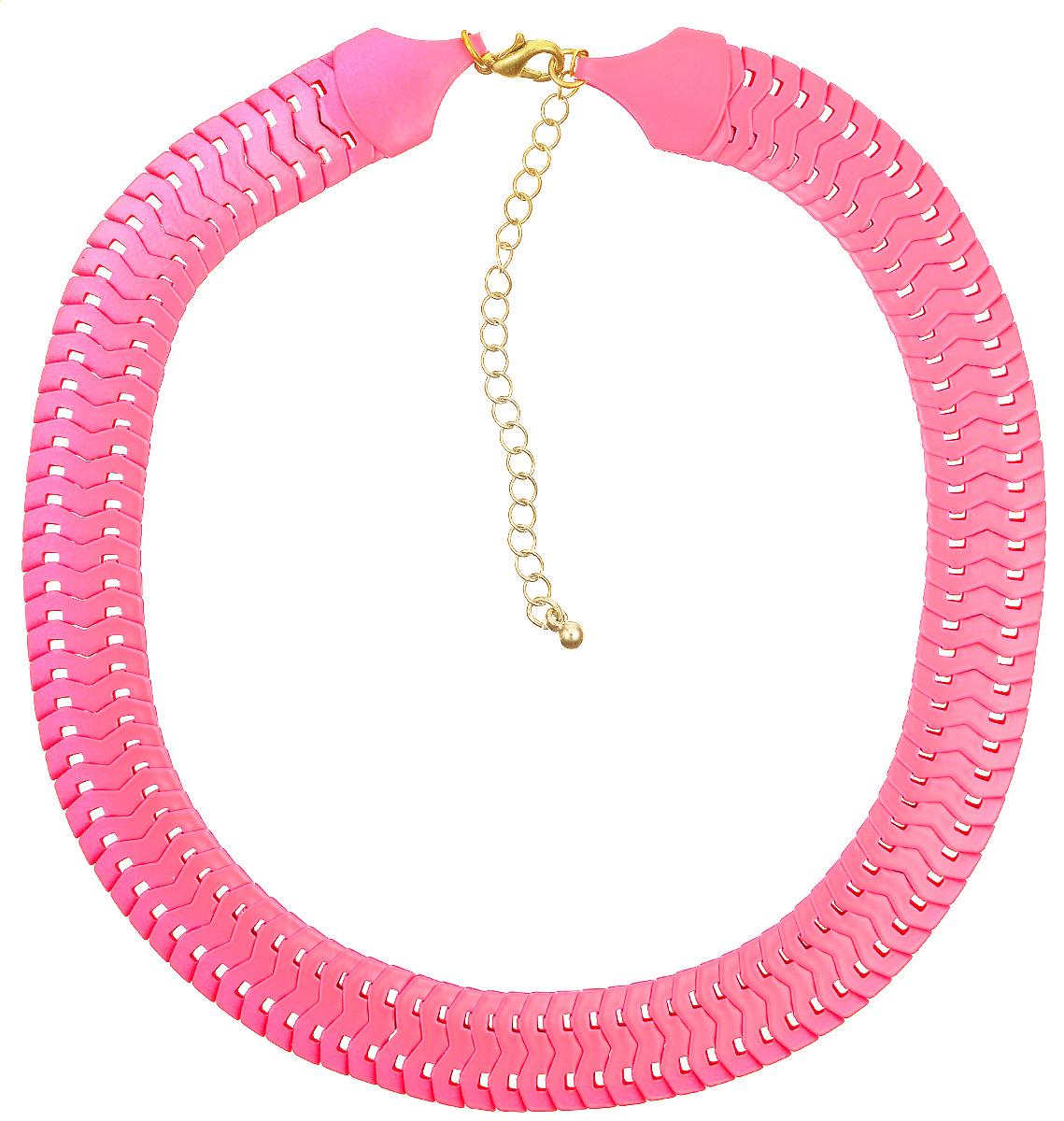Колье Kawaii Factory Flat, цвет: ярко-розовый. KW091-000082Ожерелье (короткие многоярусные бусы)Оригинальное колье Flat от Kawaii Factory похоже на маленькую яркую змейку и напомнит вам о теплых летних днях. Украшение выглядит роскошно и беззаботно, что позволяет носить его и днем, и вечером, имеет хорошо продуманный дизайн и идеальное качество. Колье выполнено из металлических плоских звеньев и застегивается на удобный замок-карабин.Такое колье позволит вам создать игривый, запоминающийся образ для любого случая жизни. Изделие подчеркнет изысканные линии декольте и изгиб шеи, а яркая цветовая гамма дополнит любой наряд.