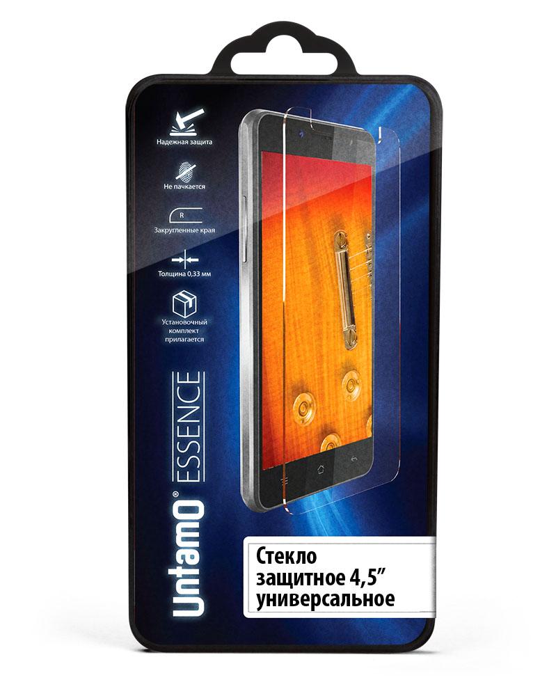 Untamo Essence универсальное защитное стекло для смартфонов 4,5UESPGUN45Защитное стекло Untamo Essence поможет защитить экран смартфона даже от сильных ударов и других воздействий. При его изготовлении используется химически закаленный материал, соответствующий стандарту твердости 9H.Олеофобное покрытие предотвращает образование отпечатков пальцев и пятен на дисплее, отталкивая влагу и грязь. Толщина аксессуара не превышает 0,33 мм, что позволяет сохранить неизменное качество изображения и высокую чувствительность сенсора. Нанесение защитного стекла на подготовленный экран отнимает всего несколько секунд - для его фиксации применяется эластичный силикон, в котором не образуется пузырей воздуха.