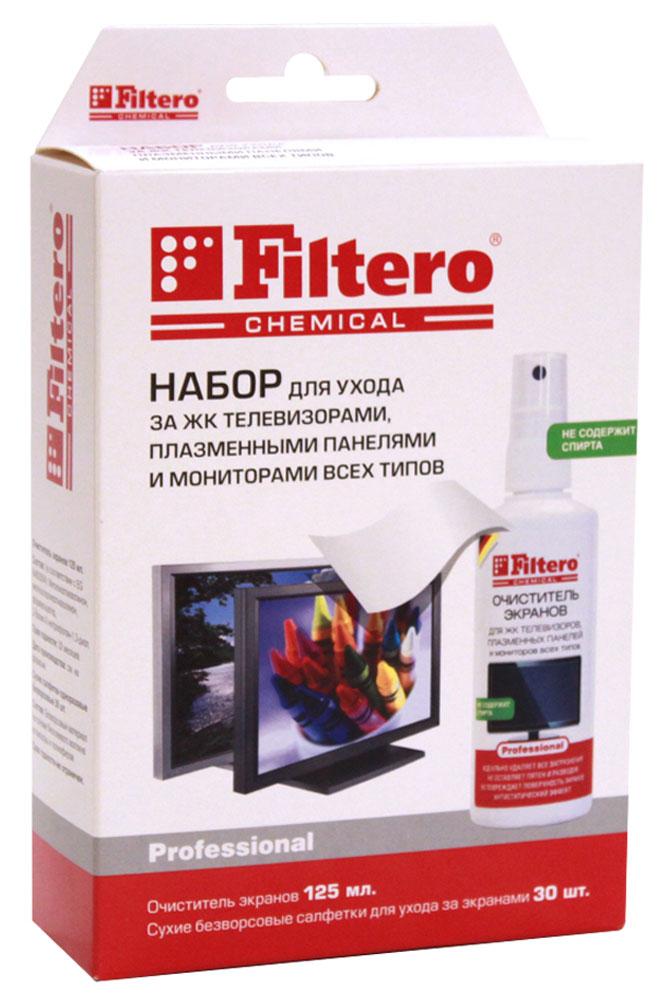 Filtero 102 средство для очистки экранов, 125 мл102В этом наборе Filtero - всё что нужно для ухода за монитором: очиститель и сухие безворсовые салфетки. Очиститель не содержит спирта, а значит, не оставляет пятен и разводов, обладает антистатическим эффектом, а также не имеет собственного запаха. Салфетки, благодаря специальному плетению нитей, моментально впитывают жидкость с поверхности монитора, не оставляя пятен и разводов. Не оставляют ворсинок.