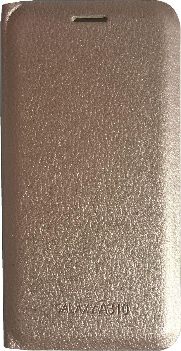 Acqua Wallet Extra чехол для Samsung Galaxy A3, Gold53921Чехол-книжка Acqua Wallet Extra для Samsung Galaxy A3 создан из высококачественных материалов. На внутренней стороне чехла имеется карман для пластиковых карт. Чехол надежно защитит ваш телефон от царапин, сколов и незначительных механических повреждений. Он также обеспечивает свободный доступ ко всем функциональным кнопкам смартфона и камере.
