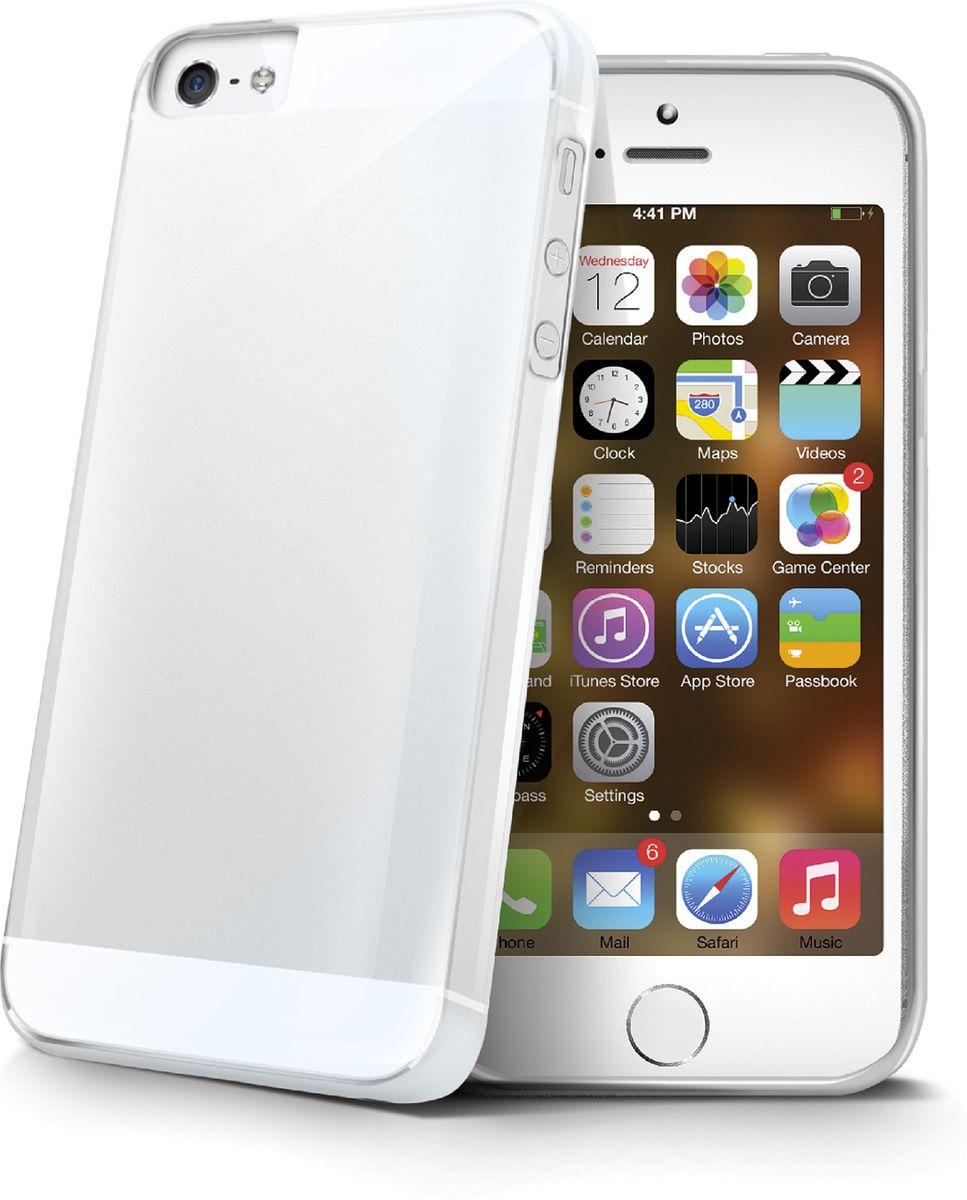 Celly Gelskin чехол для Apple iPhone 5/5s/SE, ClearGELSKIN185Прозрачный эластичный чехол-накладка Celly Gelskin для Apple iPhone 5/5s/SE выполнен из противоударного термопластичного полиуретана. Идеальное эргономичное решение для защиты вашего смартфона. Благодаря толщине 0,7 мм он практически не увеличивает размер вашего телефона.