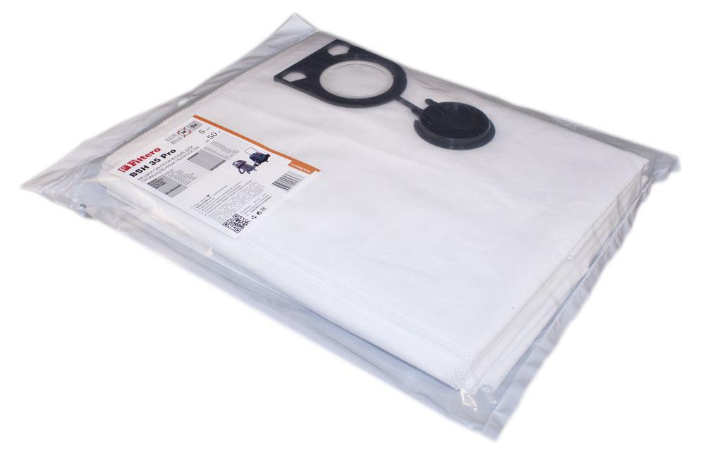 Filtero BSH 35 Pro комплект пылесборников для промышленных пылесосов, 5 штBSH 35 (5) ProМешки для промышленных пылесосов Filtero BSH 35 Pro, трехслойные, произведены из синтетического микроволокна MicroFib. Прочность синтетических мешков Filtero BSH 35 Pro превосходит любые бумажные мешки-аналоги, даже если это оригинальные бумажные мешки всемирно известных марок. Вы можете быть уверены: заклепки, гвозди, шурупы, битое стекло, острые камни и прочее не смогут прорвать мешки Filtero Pro. Мешки Filtero Pro не боятся влаги, и даже вода, попавшая в мешок, не помешает вам произвести качественную уборку!Подходят для следующих моделей пылесосов:BOSCH:GAS 50FELISATTI:VC 50HITACHI:RNT 1250METABO:ASR 2050ASR 50 LASR 50 MSHR 2050 MMILWAUKEE:ASE 1400 ASM 1400 STARMIX:GS … 1245GS … 1455HS ... 1445HS ... 1645HS … 1655IS ... 1050IS ... 1250IS ... 1450ISC ... 1450ИНТЕРСКОЛ:ПУ-45/1400
