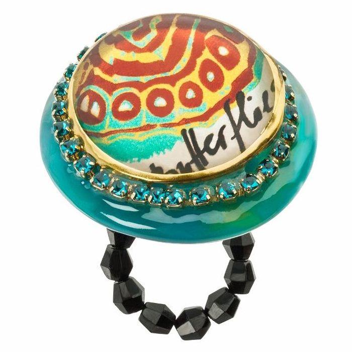 Кольцо Lalo Treasures G&G, цвет: золотистый, бирюзовый. R6978mКоктейльное кольцоИзысканное кольцо оригинального дизайна Lalo Treasures изготовлено из ювелирной смолы ярких цветов. Скругленные углы элемента идеально подходят для нежных женских пальцев - изящество и сама элегантность. Очень винтажно смотрится на руке.Кольцо Lalo подчеркнет вашу утонченность и изысканный вкус. Изделие регулируется по размеру.