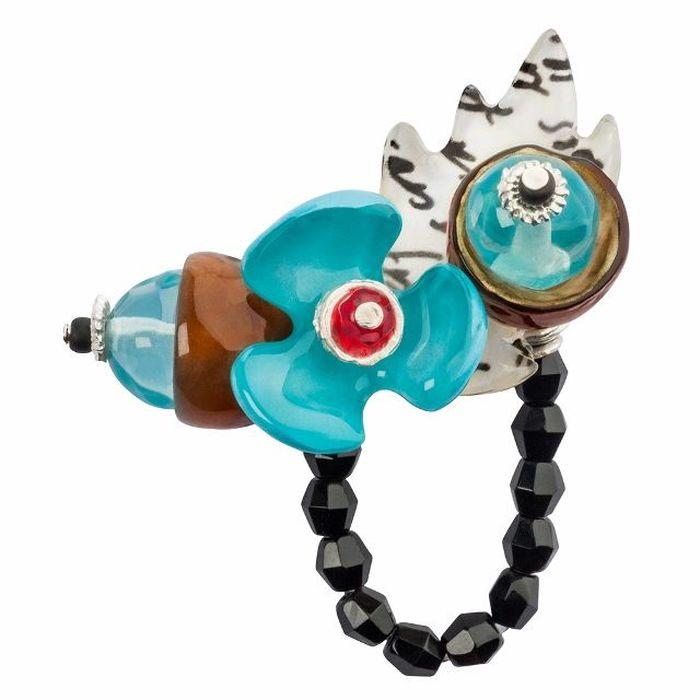 Кольцо Lalo Treasures G&G, цвет: светло-бирюзовый, коричневый. R6984mКоктейльное кольцоИзысканное кольцо оригинального дизайна Lalo Treasures изготовлено из ювелирной смолы ярких цветов.Изделие выполнено в виде утонченного цветка. Скругленные углы элемента идеально подходят для нежных женских пальцев - изящество и сама элегантность. Очень винтажно смотрится на руке.Кольцо Lalo подчеркнет вашу утонченность и изысканный вкус. Изделие регулируется по размеру.