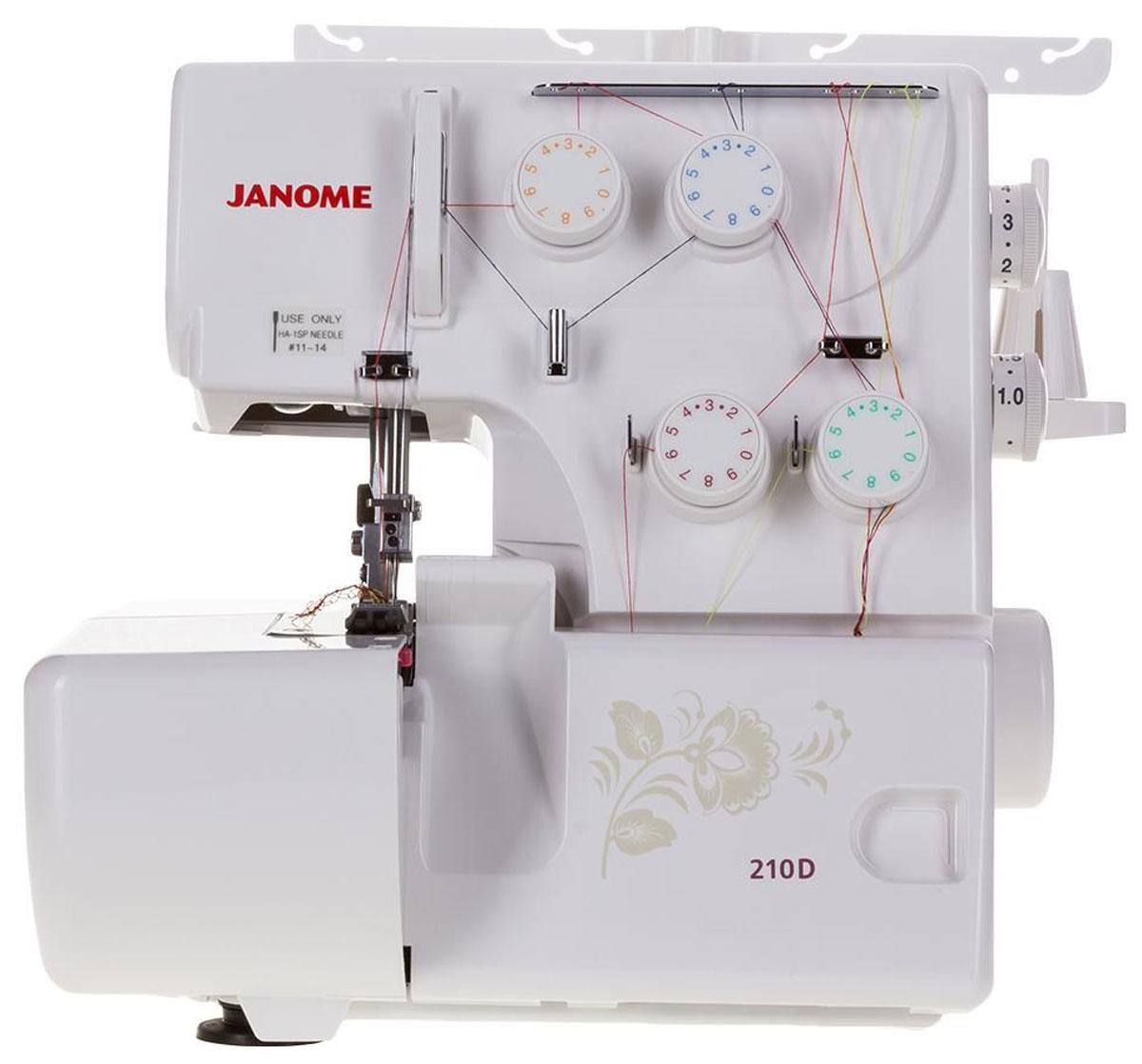 Janome 210D оверлок210D ОверлокОверлок Janome 210D способен осуществлять сразу 8 видов краеобметочных швов. От других моделей его отличает тихая работа благодаря использованию новых технологий и упрощенная заправка верхних нитей и петлителей. Оверлок Janome 210D имеет усиленный транспортер ткани и дифференциальный механизм, которые способствуют качественному продвижению всех материалов высокой эластичности. Лишняя ткань в оверлоке Janome отсекается ножами, расположенными вверху и внизу. В образовании качественной оверлочной строчки принимают участие 3 или 4 нити. В возможности аппарата входит и оверлочная строчка с роликовым швом, перед использованием которого у пользователя не возникает необходимость менять игольную пластину. В комплекте с оверлоком поставляется множество аксессуаров для комфортного использования: набор игл, лапка для оверлока, пинцет и два вида отверток.