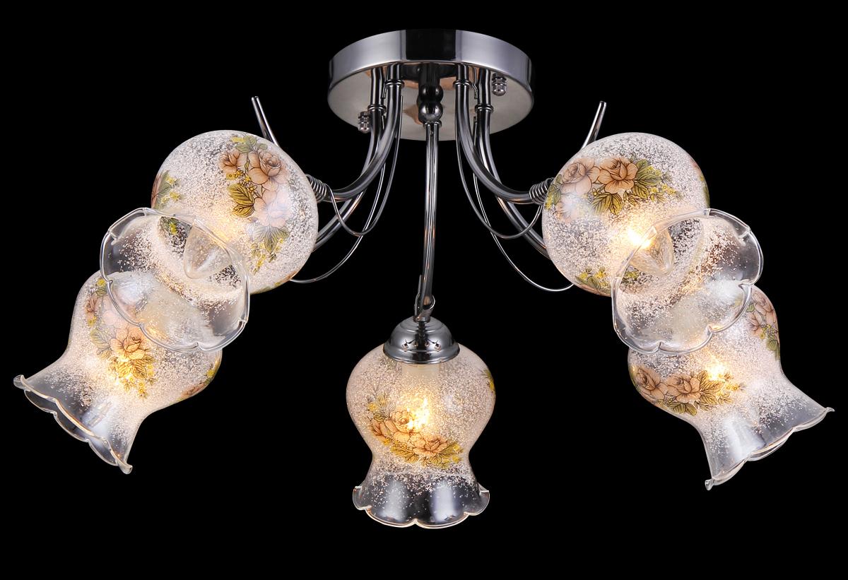 Люстра Natali Kovaltseva, 5 x E14, 60W. 11450/5C11450/5C CHROMEЛюстра Natali Kovaltseva, выполненная в классическом дизайне, станет украшением вашей комнаты и изысканно дополнит интерьер. Изделие крепится к потолку. Такая люстра отлично подойдет для освещения кабинета, столовой, спальни или гостиной. Люстра выполнена из металла с хромированным покрытием и оснащена 5 плафонами из стекла с декоративным напылением. Плафоны выполнены в форме бутонов цветка и украшены цветочным рисунком. В коллекциях Natali Kovaltseva представлены разные стили - от классики до хайтека. Дизайн и технологическая составляющая продукции разрабатывается в R&D центре компании, который находится в г. Дюссельдорф, Германия. При производстве продукции используются высококачественные и эксклюзивные материалы: хрусталь ASFOR, муранское стекло, перламутр, 24-каратное золото, бронза. Производство светильников соответствует стандарту системы менеджмента качества ISO 9001-2000. На всю продукцию ТМ Natali Kovaltseva распространяется гарантия.