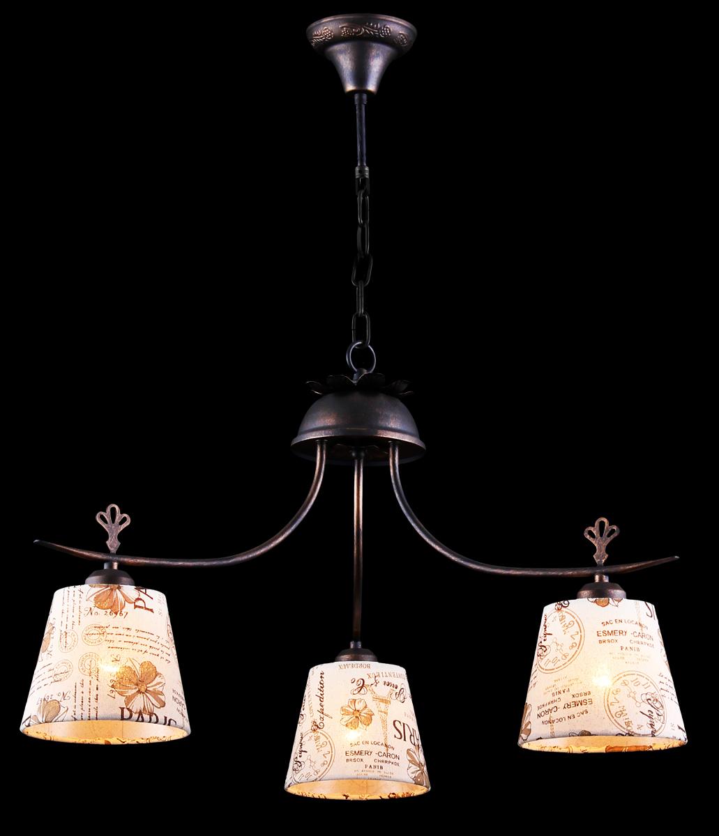 Люстра Natali Kovaltseva Alps, 3 x E27, 40W. 11430/3СALPS 11430/3С BROWN GOLDЛюстра Natali Kovaltseva, выполненная в оригинальном дизайне, станет украшением вашей комнаты и изысканно дополнит интерьер. Изделие крепится к потолку. Такая люстра отлично подойдет для освещения кабинета, столовой, кухни, спальни или гостиной. Люстра выполнена из металла с темно-коричневым искусственно состаренным покрытием и оснащена 3 плафонами. Плафоны выполнены из текстиля и дополнены принтом в виде рисунков с надписями. В коллекциях Natali Kovaltseva представлены разные стили - от классики до хайтека. Дизайн и технологическая составляющая продукции разрабатывается в R&D центре компании, который находится в г. Дюссельдорф, Германия. При производстве продукции используются высококачественные и эксклюзивные материалы: хрусталь ASFOR, муранское стекло, перламутр, 24-каратное золото, бронза. Производство светильников соответствует стандарту системы менеджмента качества ISO 9001-2000. На всю продукцию ТМ Natali Kovaltseva распространяется гарантия.