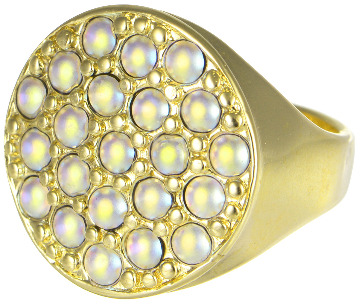 Кольцо Jenavi Франциска. Лош, цвет: золотой, мультиколор. j724p070. Размер 21Коктейльное кольцоКольцо Jenavi Лош из коллекции Франциска изготовлено из гипоаллергенного ювелирного сплава с позолотой и украшено радужными кристаллами Swarovski. Очарованию этого аксессуара невозможно противостоять. Это позолоченное кольцо станет прекрасным аксессуаром для современной модницы, которая любит демонстрировать передовые взгляды и надевать самые актуальные украшения.