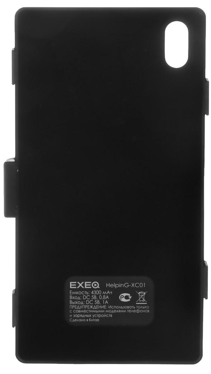 EXEQ HelpinG-XC01 чехол-аккумулятор для Sony Xperia Z1, Black (4300 мАч, клип-кейс)HelpinG-HX01 BLExeq HelpinG-XC01 - стильный чехол-аккумулятор для смартфона Sony Xperia Z1. Аксессуар идеально сочетает в себе дополнительную батарею для смартфона и компактный пластиковый чехол. Конструкция выполнена в миниатюрном форм-факторе - надежная защита задней панели и удачное боковое крепление смартфона в чехле. Благодаря такой конструкции и небольшому весу чехол не значительно увеличит габариты вашего смартфона, но при этом обеспечит его запасной батареей емкостью в 4300 мАч. Exeq HelpinG-XC01 станет просто незаменимым аксессуаром для самых активных пользователей смартфонов и для тех, кто много времени проводит в дороге.Для зарядки смартфона от сети, его совсем не нужно извлекать из чехла - просто подсоедините зарядное устройство от телефона к чехлу и нажмите кнопку питания на задней поверхности чехла - телефон начнет заряжаться. Если кнопку питания не нажимать, то будет происходить зарядка чехла-аккумулятора. Уровень заряда чехла-аккумулятора демонстрируется при помощи четырех индикаторов заряда.