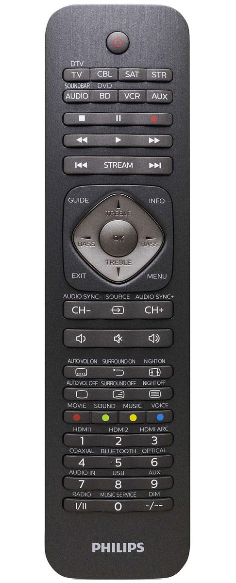 Philips SRP5018/10 универсальный пульт ДУSRP5018/10Универсальный пульт ДУ Philips SRP5018/10 подходит для управления самыми разными устройствами - в том числе телевизорами, тюнерами, приставками, акустическими системами, медиаплеерами и саундбарами (до 8 устройств).Максимальное удобствоИнтеллектуальные обучающиеся клавиши могут отвечать за любые функции, присвоенные им пользователем.Онлайн-сервисыНа пульте расположены специальные кнопки для мгновенного доступа к Netflix, Vudu и Amazon при использовании телевизоров со Smart TV или многофункциональных приставок. Кроме того, он поддерживает управление трансляциями через Apple TV и Roku.Быстрая настройкаНа официальном сайте Philips можно загрузить предустановленные коды для управления устройствами различных брендов.Автономная работыУстройство использует две стандартные батарейки ААА - их ёмкости хватает на год.