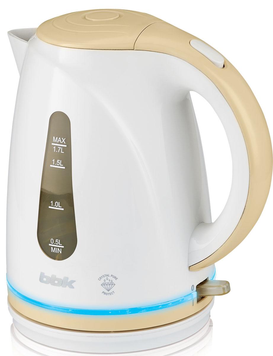 BBK EK1701P, White Biege электрический чайникEK1701P бел/бежЭлектрический чайник BBK EK1701P из термостойкого экологически чистого пластика, мощностью 2200 Bт и емкостью 1,7 литра, - это не просто стильный, но и многофункциональный прибор для вашей кухни. Чайник оснащен технологией Crystal Pure Protect - это улучшенная защита от накипи и усовершенствованная очистка воды, а также многоуровневой защитой. Помимо этого модель порадует яркой LED- подсветкой. Прибор установлен на удобную подставку с возможностью поворота на 360 градусов и с отделением для хранения шнура. Помимо этого отличительной особенностью является удобный носик для наливания и шкала уровня воды.