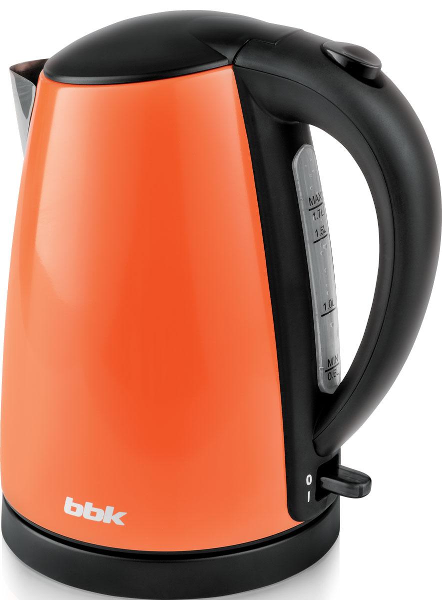 BBK EK1705S, Orange электрический чайникEK1705S оранжЭлектрический чайник BBK EK1705S, корпус которого выполнен из нержавеющей стали, мощностью 2200 Bт и емкостью 1,7 литра - это сочетание качества и долговечности. Благодаря английскому контроллеру, установленному в приборе, чайник прослужит в 5 раз дольше обычного, обеспечивая до 15000 закипаний. Модельоснащена многоуровневой защитой: автоматическое отключение при закипании, отключение при недостаточном количестве воды и отключение при снятии чайника с базы. Прибор установлен на удобную подставку с возможностью поворота на 360 градусов и с отделением для хранения шнура. Помимо этого отличительнойособенностью является удобный носик для наливания и шкалауровняводы. Съемный фильтр от накипи и скрытыйнагревательный элемент гарантированно обеспечат надежность, долговечность и максимально комфортное ежедневноеиспользование.