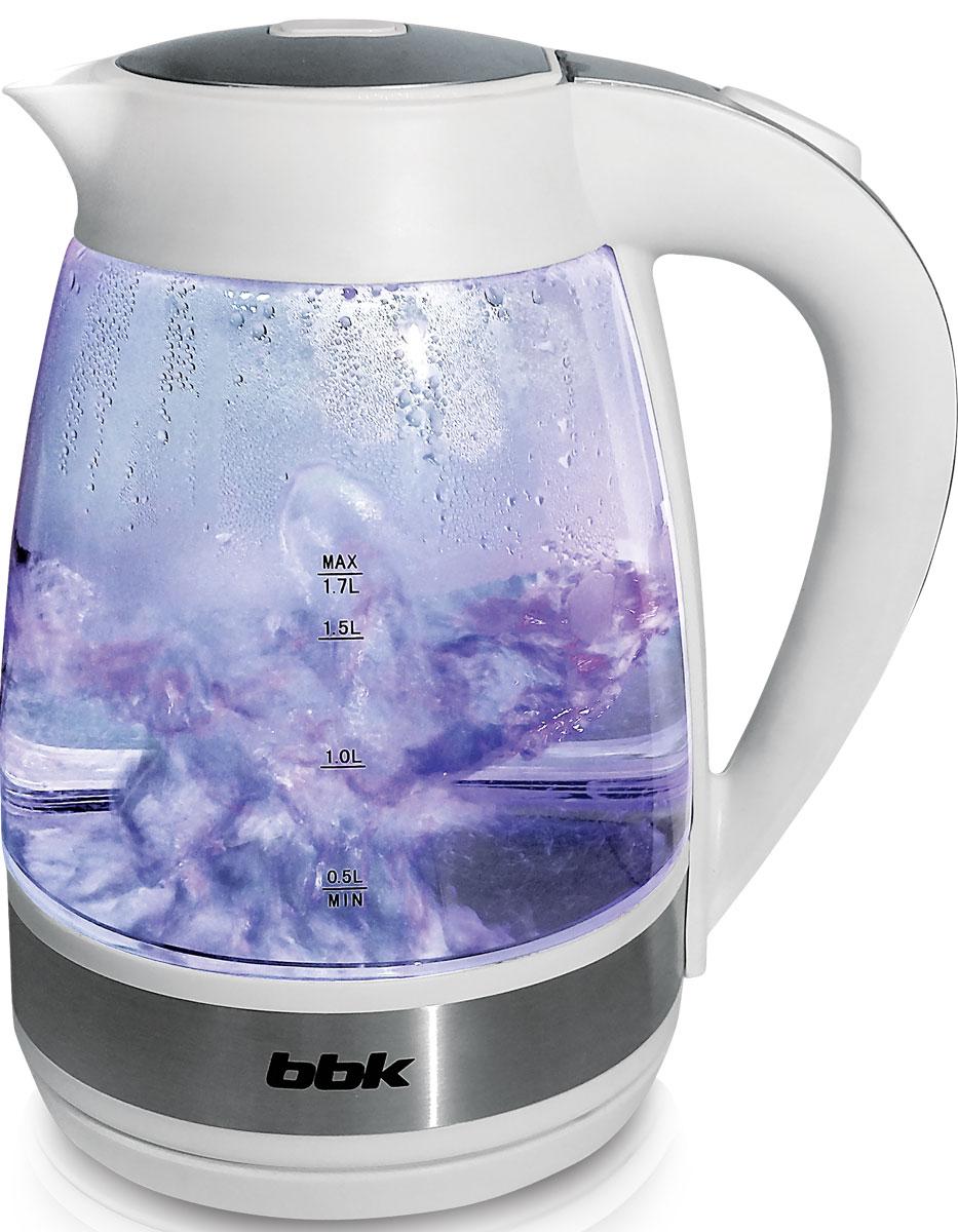 BBK EK1721G, White электрический чайникEK1721G белыйЭлектрический чайник BBK EK1721G с колбой из жаропрочного экологически чистого стекла, мощностью 2200 Вт и емкостью 1,7 литра - это не просто стильный, но и многофункциональный прибор для вашей кухни. Благодаря английскому контроллеру, установленному в приборе, чайник прослужит в 5 раз дольше обычного, обеспечивая до 15000 закипаний. Модель оснащена многоуровневой защитой: автоматическое отключение при закипании, отключение при недостаточном количестве воды. Прибор установлен на удобную подставку с возможностью поворота на 360 градусов и с отделением для хранения шнура. Помимо этого отличительной особенностью является удобный носик для наливания и шкала уровня воды. Съемный фильтр от накипи и скрытый нагревательный элемент гарантированно обеспечат надежность, долговечность и максимально комфортное ежедневное использование.