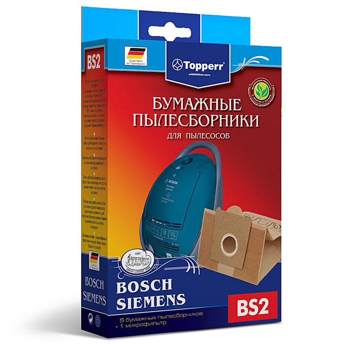 Topperr BS 2 фильтр для пылесосов Bosch, Siemens, 5 шт1001Бумажные пылесборники Topperr BS 2 для пылесосов Bosch и Siemens изготовлены из экологически чистой двухслойной бумаги, соответствующей европейскому стандарту качества, задерживают 99% пыли, продлевая срок службы пылесоса, сохраняют чистоту воздуха и устраняют вредные бактерии.Модели и серии пылесосов:Bosch: Home Professional BSGL 5 PRO; Free`e BSGL 52; GL-30 BSGL 3; GL-40 BSGL 4; Formula Hygienixx BSG 7; Logo BSG 6; Sphera BSA 2, BSA 3, BSD2, BSD 3; Move BSGL 2move (1-8); Perfecta Ultra BSF 1; Casa BSD 1; Natura BSD 2; Easy Control BSC 1; Perfecta BBS 8; Compacta BBS 7; Activa BBS 6; Optima BBS 5; Maxima BBS 4; Alpha1 BBS 1, Alpha2 BBS 2; Solida BBS 1; Solitaire BSA 2. Siemens: Z3.0 VSZ3; Z4.0 VSZ 4; Z5.0 VSZ5; Z6.0 VSZ 6; Technopower VS 07G; Synchropower VS 06G; Dino VS 5.A(B)(C)(E); VS 04G; SuperL(XL) VS 9.A; VS 81A; SuperE VS 7.A(B)(C)(D), VS 33A(B); VS 32A(B); Super700 VS 7; Super690 VS 69; SuperM VS 6.A, VS 7.C(D); Super500 VS 5; SuperS VS 42A(B), 44A(B); Super100 VS10; Super XS(XXS) VS5.A(B); SuperC VS63A.