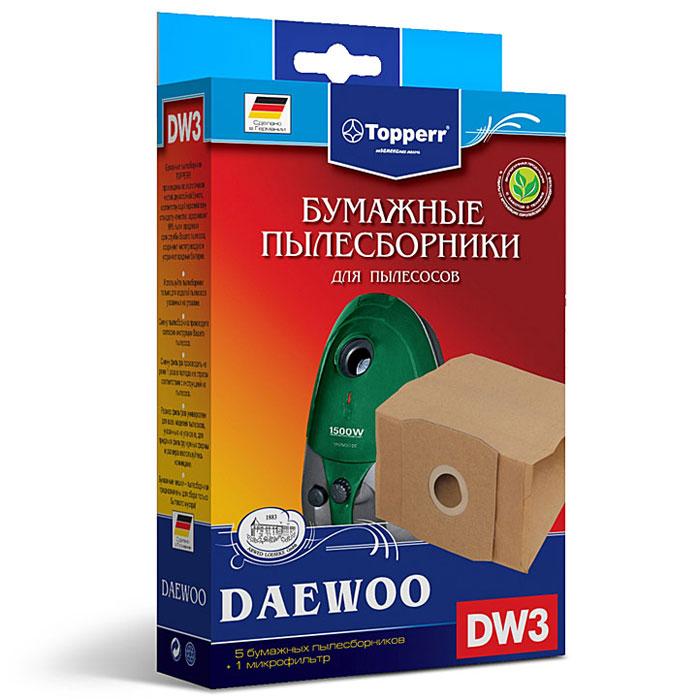 Topperr DW 3 фильтр для пылесосов Daewoo, 5 шт1003Бумажные пылесборники Topperr DW 3 для пылесосов Daewoo изготовлены из экологически чистой двухслойной бумаги, соответствующей европейскому стандарту качества, задерживают 99% пыли, продлевая срок службы пылесоса, сохраняют чистоту воздуха и устраняют вредные бактерии.Daewoo: RC 1550, RC 1560, RC 200 H, RC 220, RC 2200, RC 2201, RC 2202, RC 2205, RC 2230, RC 300, RC 320, RC 3000, RC 3001, RC 3004, RC 3005, RC 3006 B, RC 3011, RC 305, RC 3100, RC 3106, RC 320, RC 3204, RC 3205, RC 330 FR, RC 3306, RC 3308 MR, RC 350, RC 3500, RC 360, RC 370 B, RC 3700, RC 3704 F, RC 3705 FB, RC 371, RC 3750, RC 3800, RC 400, RC 4000, RC 4005, RC 4006 B, RC 4008 S, RC 410, RC 470, RC 480, RC 600, RC 6005, RC 700, RC 7003, RC 7004, RC 7005, RC 805, RC 800, RC 850, RC 8001, RC 8002, RC 9000, RC-L 381, RCN 350, RCN 400, RCN 500, RCN 3706