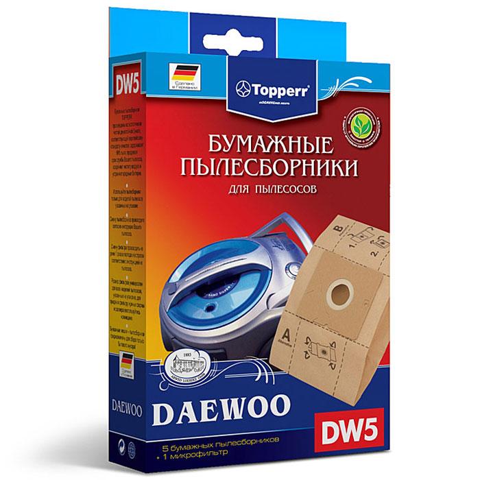 Topperr DW 5 фильтр для пылесосов Daewoo, 5 шт1004Бумажные пылесборники DW5 для пылесосов DAEWOO изготовлены из экологически чистой двухслойной бумаги, соответствующей европейскому стандарту качества, задерживают 99% пыли, продлевая срок службы пылесоса, сохраняют чистоту воздуха и устраняют вредные бактерии.Модели и серии пылесосов:Daewoo: RC-8200, RC-8500 S, RC-8600, RC-2006, RC-2500, RC-6016, RC 1504, RC 1650, RC 3504, RC-5001, RC-5002, RC-6001, RC-6002, RCP-1000, RC 103, RC 105, RC 106, RC 107, RC 108, RC 109, RC 110, RC 160, RC 161, RC 170, RC 171, RC 172, RC 173, RC 190, RC 191, RC 192, RC 193, RC 202, RC 205, RC 208, RC 209, RC 210, RC 405, RC 406, RC 407, RC 450, RC 505, RC 550, RC 605, RC 606, RC 607, RC 608, RC 609, RC 705, RC 707, RC 7006, VC 6714, VC 7114, Compakt, Koala