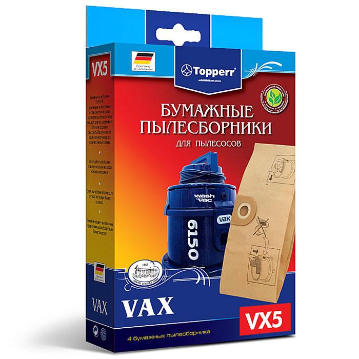 Topperr VX 5 фильтр для пылесосовVax, 4 шт1035Бумажные пылесборники Topperr VX 5 для пылесосов VAX изготовлены из экологически чистой двухслойной бумаги, соответствующей европейскому стандарту качества, задерживают 99% пыли, продлевая срок службы пылесоса, сохраняют чистоту воздуха и устраняют вредные бактерии.Модели и серии пылесосов:VAX: 101 - 121, 221 - 223, 1000 - 2300, Powa 4000, 4100, Rapide 5100 - 5120, Rapide Plus 5130 - 5150, Wash&Vac 6131 - 6151, Pet Vax 6140; 1700