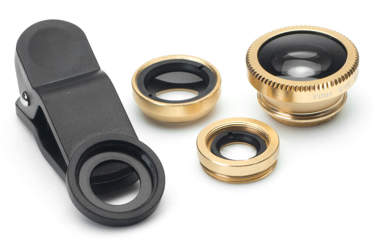 Harper UCL-003, Gold набор объективов 3 в 1H00000540Набор объективов Harper UCL-003. Линзы подходят как для телефонов, так и для планшетов.Набор объективов включает в себя:Fish Eye - объектив, угол изображения которого близок к ста восьмидесяти градусамWide Angle Lens - широкоугольный объектив, увеличивает угол съемки примерно на 49%Macro - позволяет снимать мелкие предметы с фокусным расстоянием 1,5 - 2,3 см.