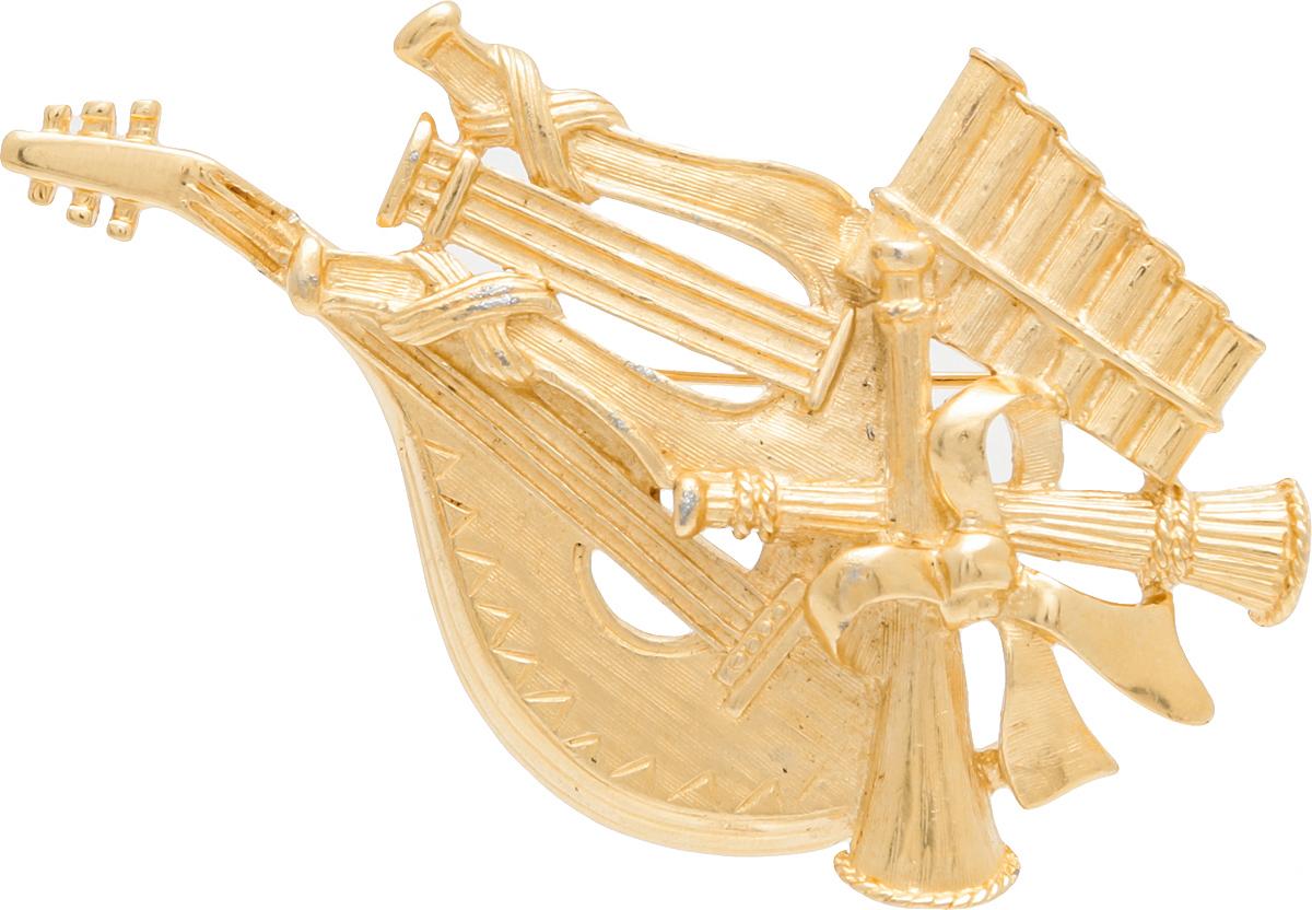 Винтажная брошь Джаз от Trifari. Ювелирный сплав золотого тона. США, 1970-е годыБрошь-булавкаВинтажная брошь Джаз от Trifari. Ювелирный сплав золотого тона. США, 1970-е годы. Размер броши 4,5 х 7 см.Сохранность хорошая. Брошь маркирована Trifari.