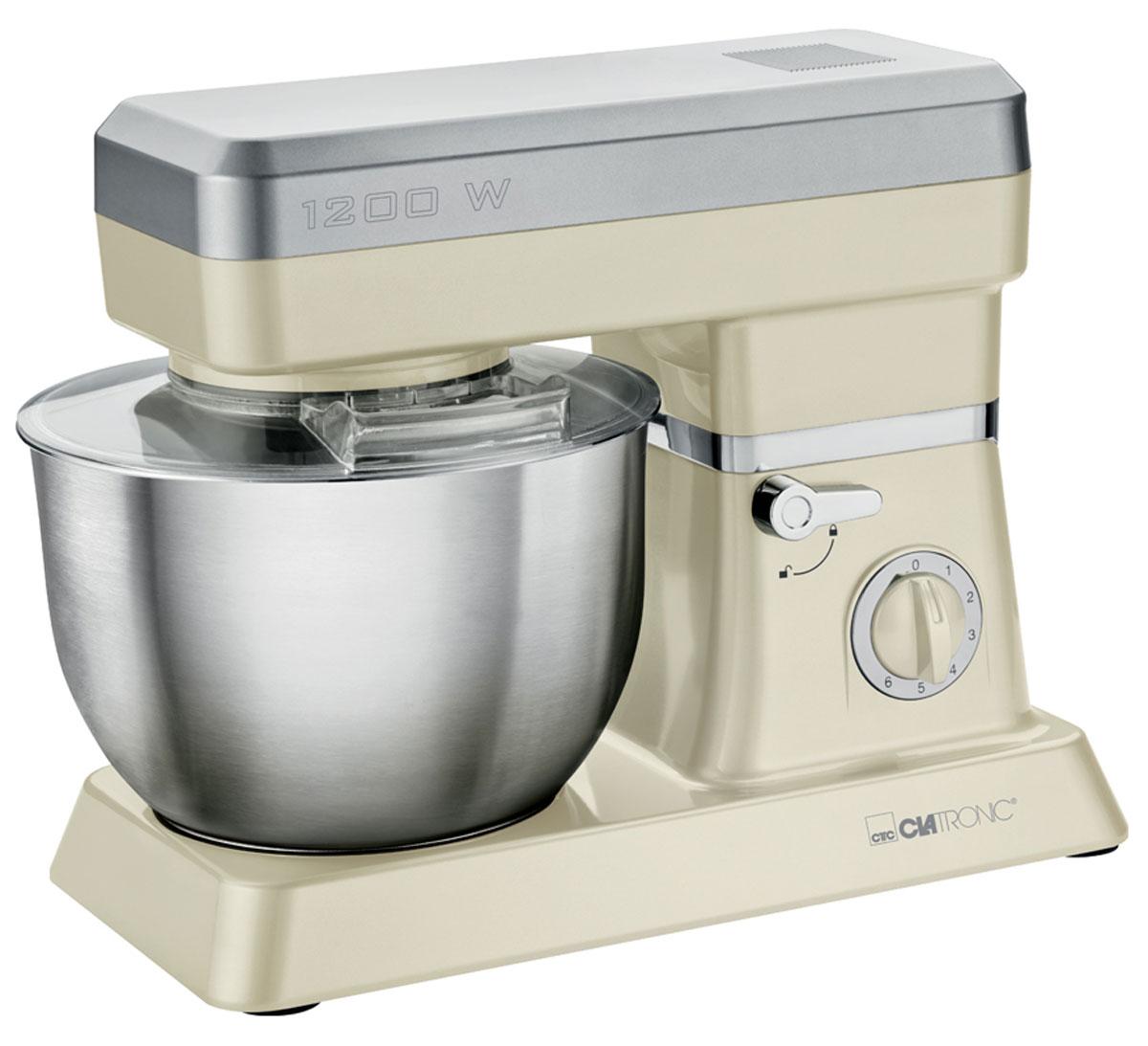 Clatronic KM 3630, Creme кухонный комбайнKM 3630 cremeСтационарный миксер Clatronic KM 3630 станет прекрасным помощником для любой хозяйки С ним вы сможете готовить невероятно вкусные и аппетитные блюда, при этом сократив время их приготовление. Основным назначением прибора является изготовление различных видов теста и кремов. Миксер качественно и быстро перемешивает различные ингредиенты, что дает возможность избежать комочков.Clatronic KM 3630 снабжен чашей из нержавеющей стали и механической системой управления. 6 скоростей замешивания + импульсный режим обеспечат наилучший результат.Поворотный рукав на 35°Чаша из нержавеющей сталиБыстрозажимной патронЛегко разбирается для мытья и чистки