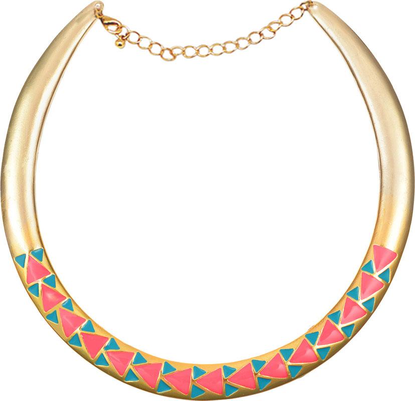 Колье Kawaii Factory Triangles, цвет: золотой, розовый. KW091-000085Колье (короткие одноярусные бусы)Колье Triangles от Kawaii Factory в этническом стиле выполнено из металлической основы, имеющей форму полумесяца и декорировано цветными акриловыми треугольниками. Изделие оснащено цепочкой с удобным замком карабином. В этом колье вы всегда будете выглядеть женственно, привлекательно и оригинально. Объемная фактура придаст изящества женской шее, а яркая цветовая гамма дополнит любой наряд.