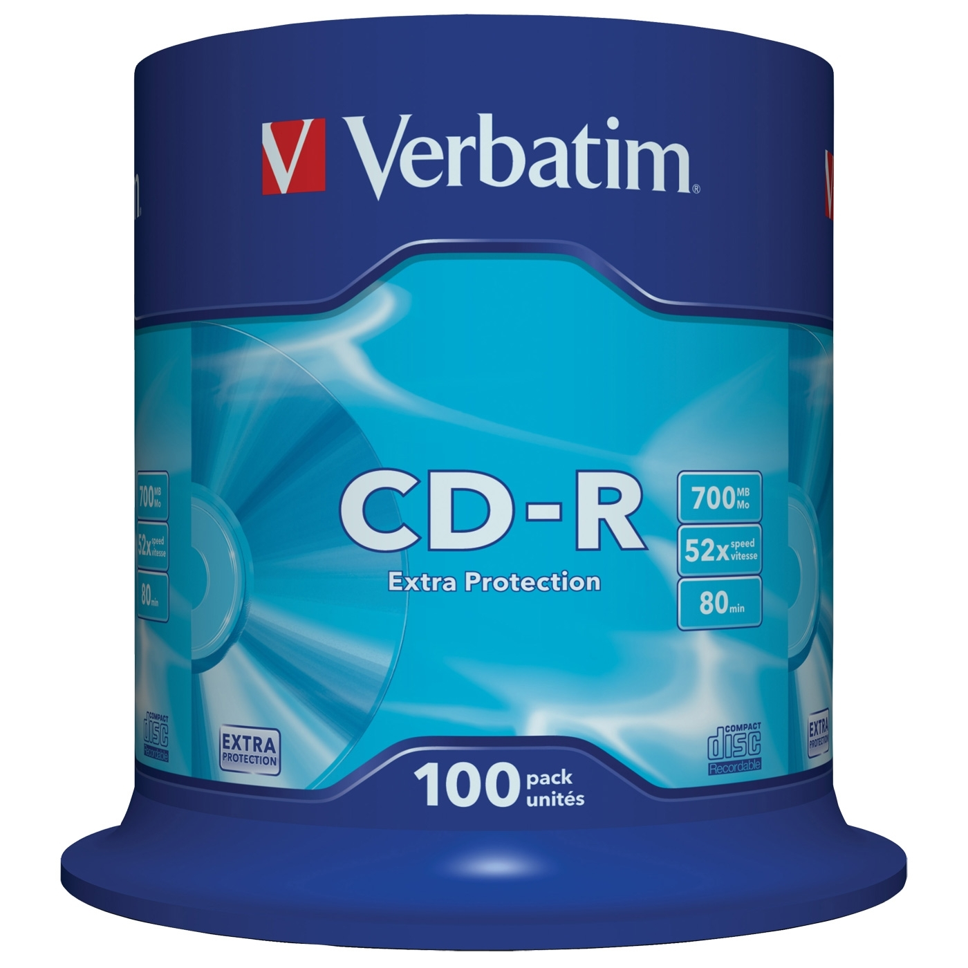 Диск CD-R Verbatim 700Mb 52x DataLife Cake Box, 100 шт (43411)