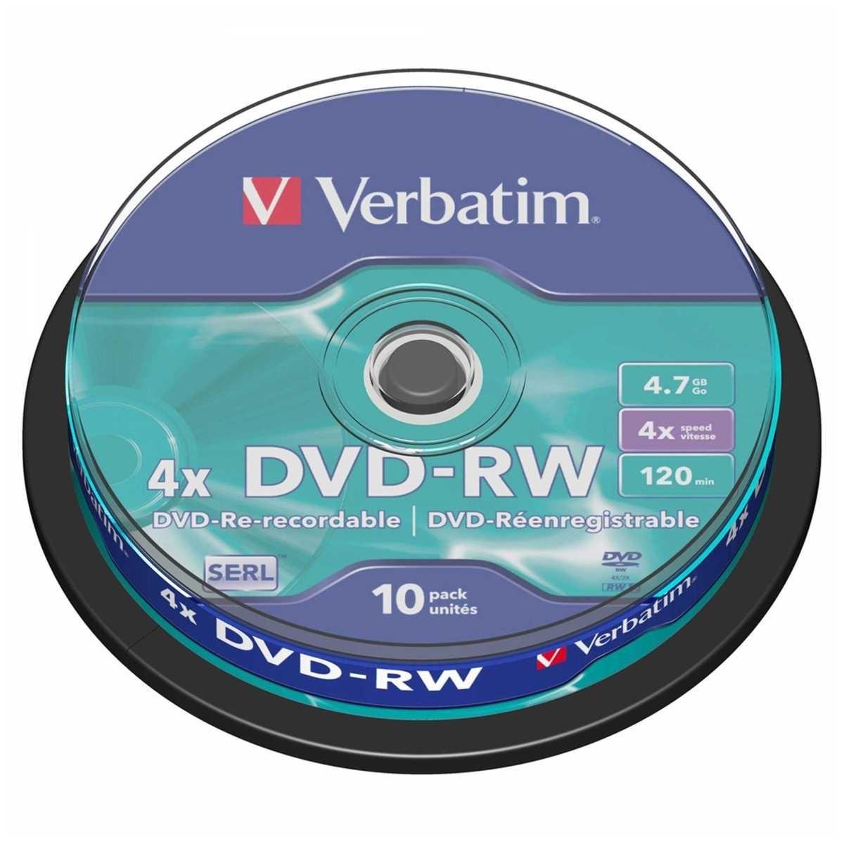 Диск DVD-RW Verbatim 4.7Gb 4x Cake Box (10 шт)43552Универсальные оптические компакт-диски DVD-RW Verbatim 4.7Gb 4x предназначены для записи аудио и видео данных различных форматов. Информацию можно перезаписывать, используя скорость записи до 4х.