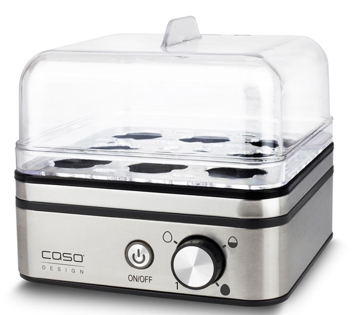 CASO E9, Silver яйцеваркаE 9C помощью яйцеварки CASO E 9 яйца готовятся на пару, при этом используется минимальное количество воды. Каждое яйцо помещается в свое гнездышко, поэтому яйца не соприкасаются друг с другом, а значит, не трескаются и не вытекают.Электронное регулирование времени приготовленияЗащита от выкипанияАнтипригарное покрытие варочной емкостиПрозрачная пластиковая крышкаМерный стаканчик с приспособлением для накалывания яицСъемная подставка для яиц из нержавеющей стали