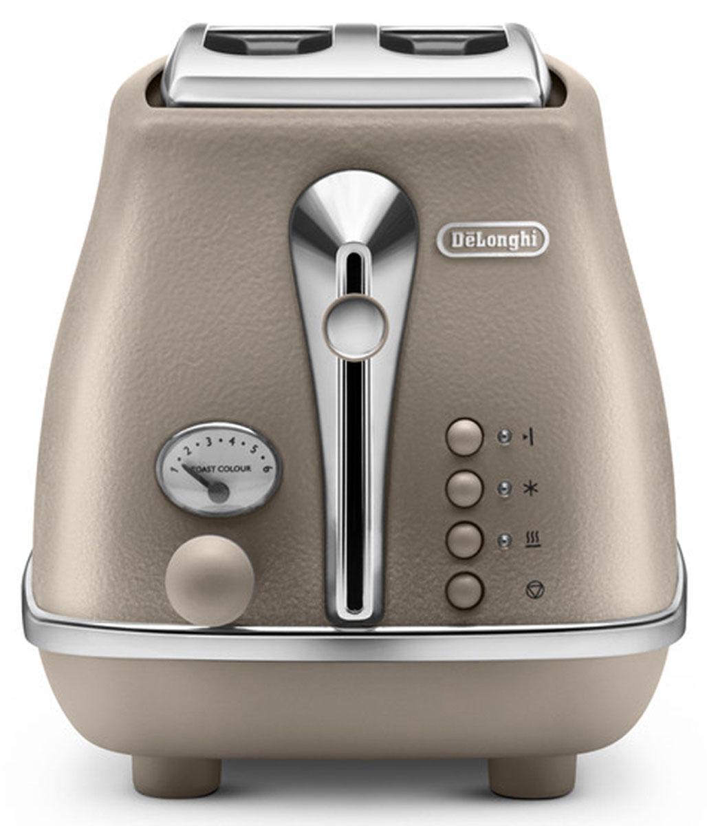 DeLonghi Icona Elements CTOE2103.BG, Beige тостер0230120025Корпус придает внешнему виду тостера DeLonghi CTOE2103 строгость и в то же время особый шик. Хромированная отделка смотрится оригинально и гармонично. Кнопки управления имеют неоновую подсветку, так что в темное время суток вы без проблем сможете им управлять. Тостер выполнен в классическом стиле, который придется по душе людям с изысканным вкусом.Тостер DeLonghi CTOE2103 делает хрустящие гренки благодаря инфракрасному излучению от спиралей, находящихся внутри корпуса. Прибор работает на мощности 900 Вт, что делает его работу быстрой и результативной. Горячие тосты будут готовы всего за несколько минут. С первого взгляда может показаться, что тостер - это простое устройство лишь для поджаривания ломтиков хлеба. Но это не так! Функциональные возможности прибора намного шире. Функция подогрева пригодится вам для остывших тостов. Функция размораживания - для хлеба из морозильной камеры. Функция односторонний подогрев дает возможность и разогреть уже готовые хлебцы, и сделать поджаривание тоста лишь с одной стороны. Функция отмены позволяет закончить работу тостера в любой момент, когда вы посчитаете нужным. Цена тостера довольно приемлема, учитывая, что вы приобретаете устройство, в котором так много различных дополнительных возможностей.Вы можете оценить выбор степени прожарки тостов из шести вариантов. Слегка подрумяненный или максимально прожаренный хлеб - вы можете выбрать степень нагрева легким поворотом ручки управления. Благодаря этой функциональной особенность решается вопрос разных вкусовых предпочтений. Ведь теперь каждый член вашей семьи может приготовить тост по своему вкусу.