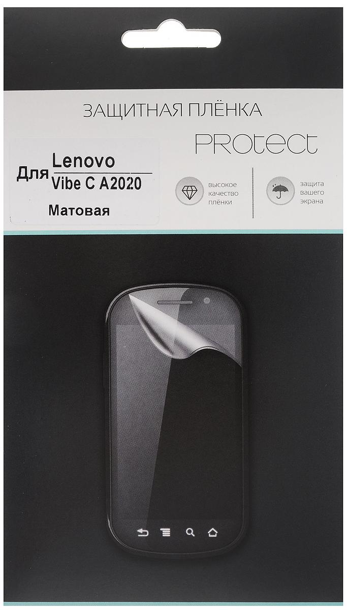 Protect защитная пленка для Lenovo Vibe C A2020, матовая21109Защитная пленка Protect для Lenovo Vibe C A2020 предохранит дисплей от пыли, царапин, потертостей и сколов. Пленка обладает повышенной стойкостью к механическим воздействиям, оставаясь при этом полностью прозрачной.