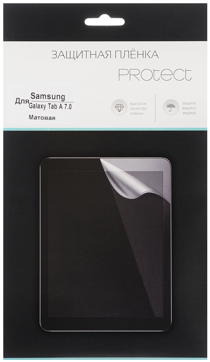 Protect защитная пленка для Samsung Galaxy Tab A 7.0, матовая22559Защитная пленка Protect для Samsung Galaxy Tab A 7.0 предохранит дисплей от пыли, царапин, потертостей и сколов. Пленка обладает повышенной стойкостью к механическим воздействиям, оставаясь при этом полностью прозрачной.