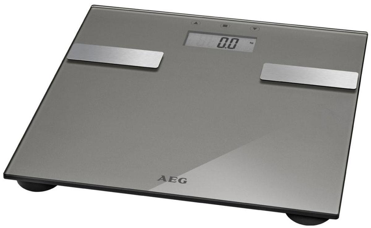 AEG PW 5644 FA, Light Gray напольные весыPW 5644 FA titanЭлектронные весы AEG PW 5644 FA со стеклянной подошвой идеально подойдут для анализа параметров тела — вес, жир, вода, мышечная масса, кости, расход калорий за день, индекс массы тела.Многофункциональный LCD-дисплейСистема Степ-онРазмер поверхности 30 х 30 смНескользящие ножки