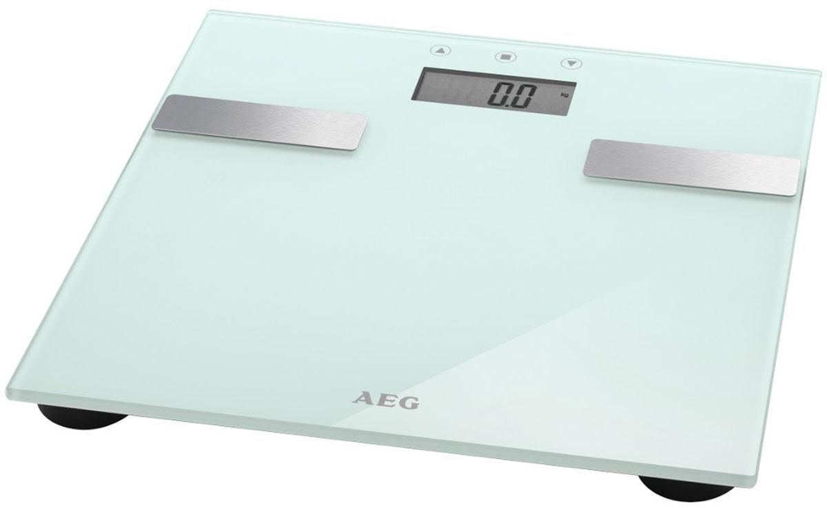 AEG PW 5644 FA, White напольные весыPW 5644 FA weissЭлектронные весы AEG PW 5644 FA со стеклянной подошвой идеально подойдут для анализа параметров тела - вес, жир, вода, мышечная масса, кости, расход калорий за день, индекс массы тела.Многофункциональный LCD-дисплейСистема Степ-онРазмер поверхности 30 х 30 смНескользящие ножки