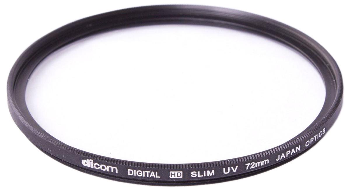 Dicom D-UVS72 UV Slim тонкооправный фильтр (72 мм)D-UVS72Фильтр Dicom D-UVS72 в металлической ультратонкой оправе (толщина 3,25 мм) используется для защиты объектива от пыли, царапин, загрязнений. Снижает дымку и увеличивает контрастность за счет отсечки ультрафиолетового спектра.