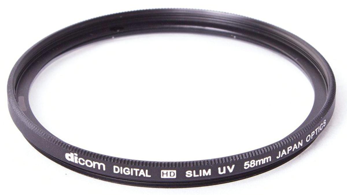 Dicom D-UVS58 UV Slim тонкооправный фильтр (58 мм)D-UVS58Фильтр Dicom D-UVS58 в металлической ультратонкой оправе (толщина 3,25 мм) используется для защиты объектива от пыли, царапин, загрязнений. Снижает дымку и увеличивает контрастность за счет отсечки ультрафиолетового спектра.
