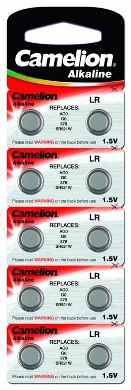 Батарейка для часов Camelion G-0 BL-10 (AG0/ 379A/LR521), 10 шт5596Батарейка для часов