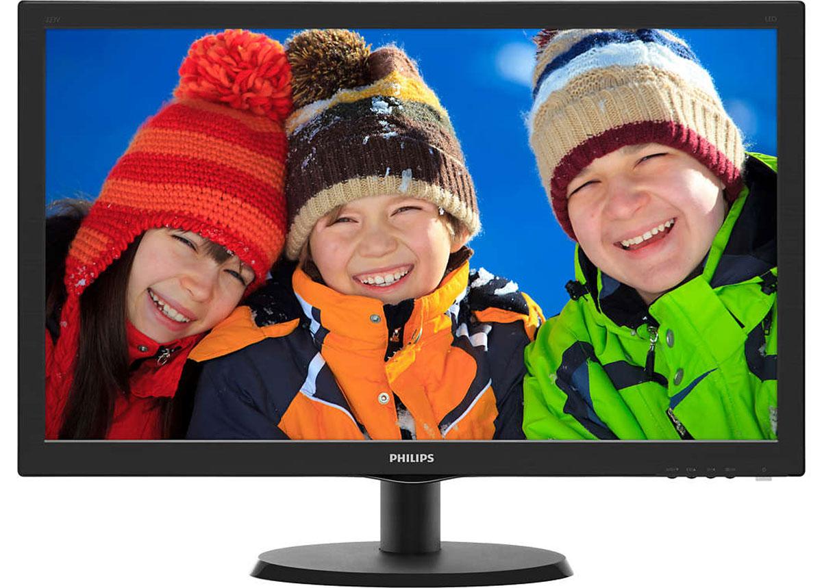 Philips 223V5LHSB2 (00/01) монитор223V5LHSB2 (00/01)Оцените яркое реалистичное LED-изображение на дисплее Philips 223V5LHSB2 с HDMI и функцией SmartControl Lite. Выбор очевиден!SmartContrast — технология Philips, которая анализирует отображаемый контент и автоматически настраивает цвета и интенсивность подсветки для динамичного улучшения контраста. Тем самым обеспечивается оптимальный уровень контрастности и наилучшее качество цифрового изображения, а также большая насыщенность темных оттенков, что особенно важно во время игр. При выборе экономичного режима уровень контрастности регулируется, а подсветка настраивается для оптимальной работы со стандартными офисными приложениями и экономии электроэнергии.Качество изображения играет важную роль. Обычные дисплеи обеспечивают неплохое качество изображения, однако не на самом высоком уровне. Дисплей Philips 223V5LHSB2 оснащен улучшенным разрешением Full HD 1920 x 1080: четкая детализация в сочетании с высокой яркостью, удивительной контрастностью и реалистичной цветопередачей — естественное изображение словно оживает на глазах.Устройство HDMI Ready обладает всем необходимым аппаратным обеспечением для работы через мультимедийный интерфейс высокой четкости (HDMI). С помощью одного HDMI-кабеля цифровой видео- и аудиоконтент высокого качества передается с ПК или с любого количества аудио- и видеоисточников (включая телеприставки, проигрыватели DVD, ресиверы А/В и видеокамеры).Белые светодиоды — это устройства, достигающие предельной яркости за меньшее время. Светодиоды не содержат ртути, что обеспечивает экологичный производственный процесс и утилизацию. Светодиоды позволяют лучше регулировать яркость подсветки ЖК-дисплея, обеспечивая превосходный коэффициент контрастности. Кроме того, их отличает великолепная цветопередача, благодаря одинаковой яркости по всему экрану.SmartControl Lite — программное обеспечение нового поколения для управления монитором с поддержкой 3D изображения. Графический интерфейс позволяет пользовате