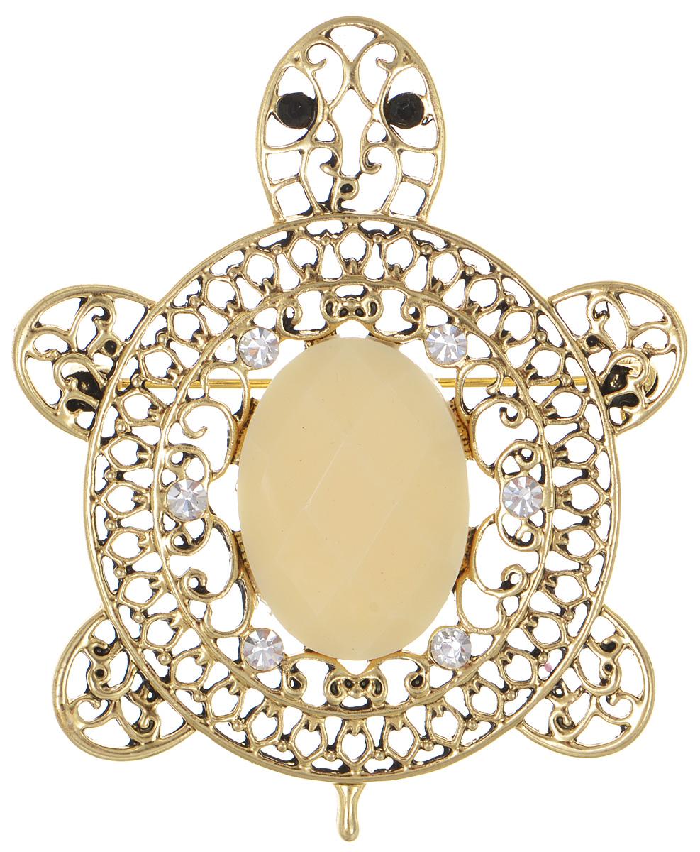 Брошь Fashion House, цвет: золотой. FH29823Ажурная брошьБрошь Fashion House выполнена из металла в форме черепахи и инкрустирована пластиком и сверкающими стразами. Аксессуары с животными всегда смотрятся интересно и свежо, вы будете улыбаться каждый раз, когда ваш взгляд будет падать на маленькие золотистые лапы или крохотный хвостик. Прозрачные кристаллы в сочетании с интересной формой рождают эффектное украшение, которое подойдет для любого торжественного случая, когда надо добавить в образ немного блеска. Этот роскошный аксессуар сделает любую вашу вещь более яркой и элегантной.